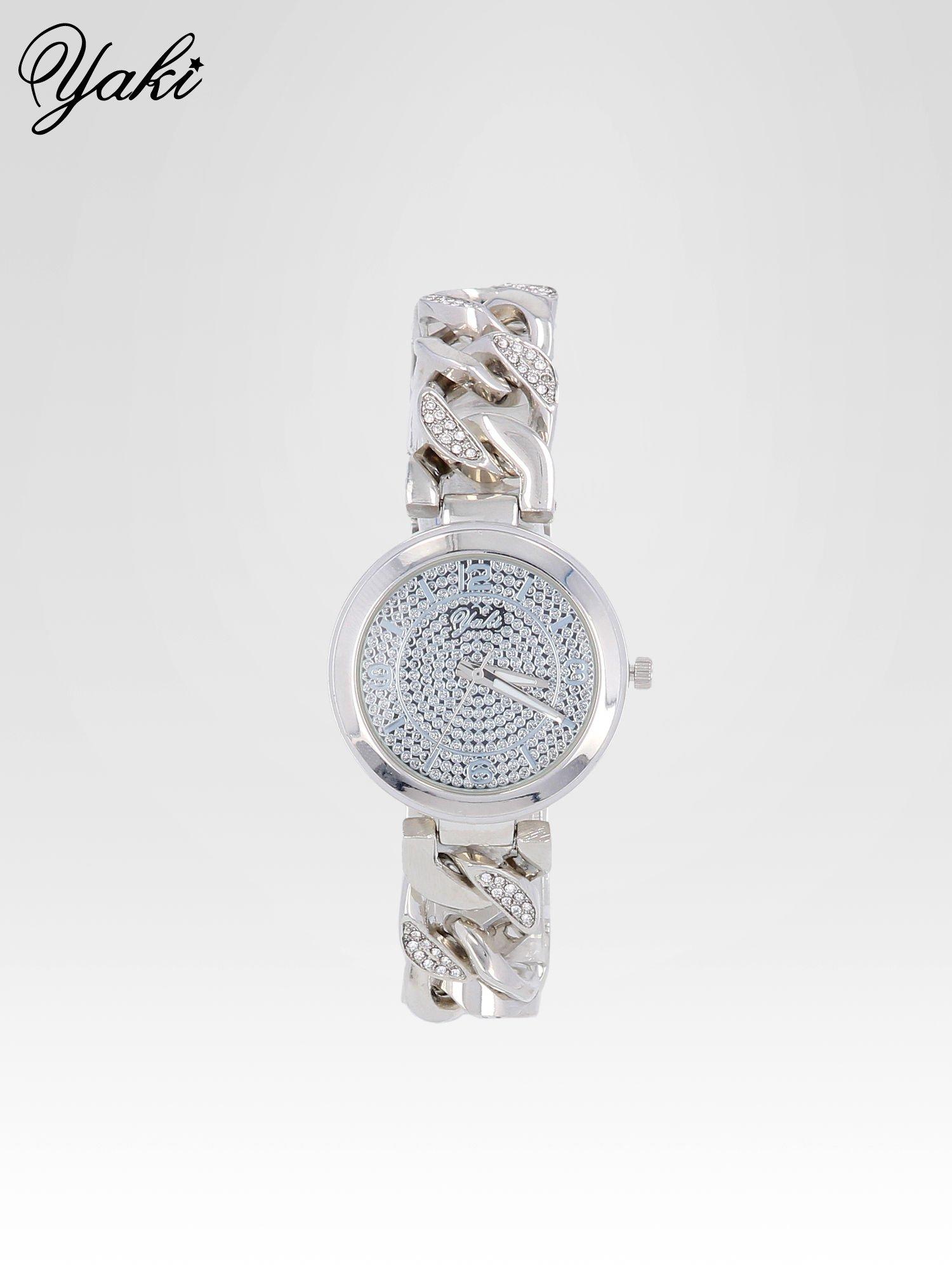Bizuteryjny zegarek na bansolecie z cyrkoniami ze srebra                                  zdj.                                  1