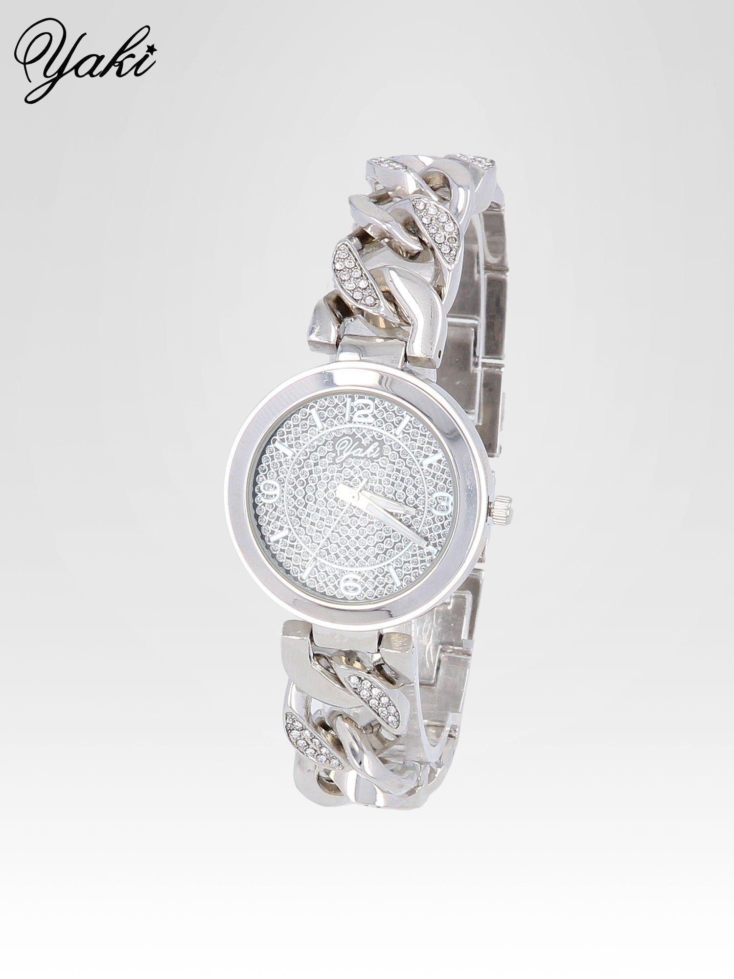 Bizuteryjny zegarek na bansolecie z cyrkoniami ze srebra                                  zdj.                                  2