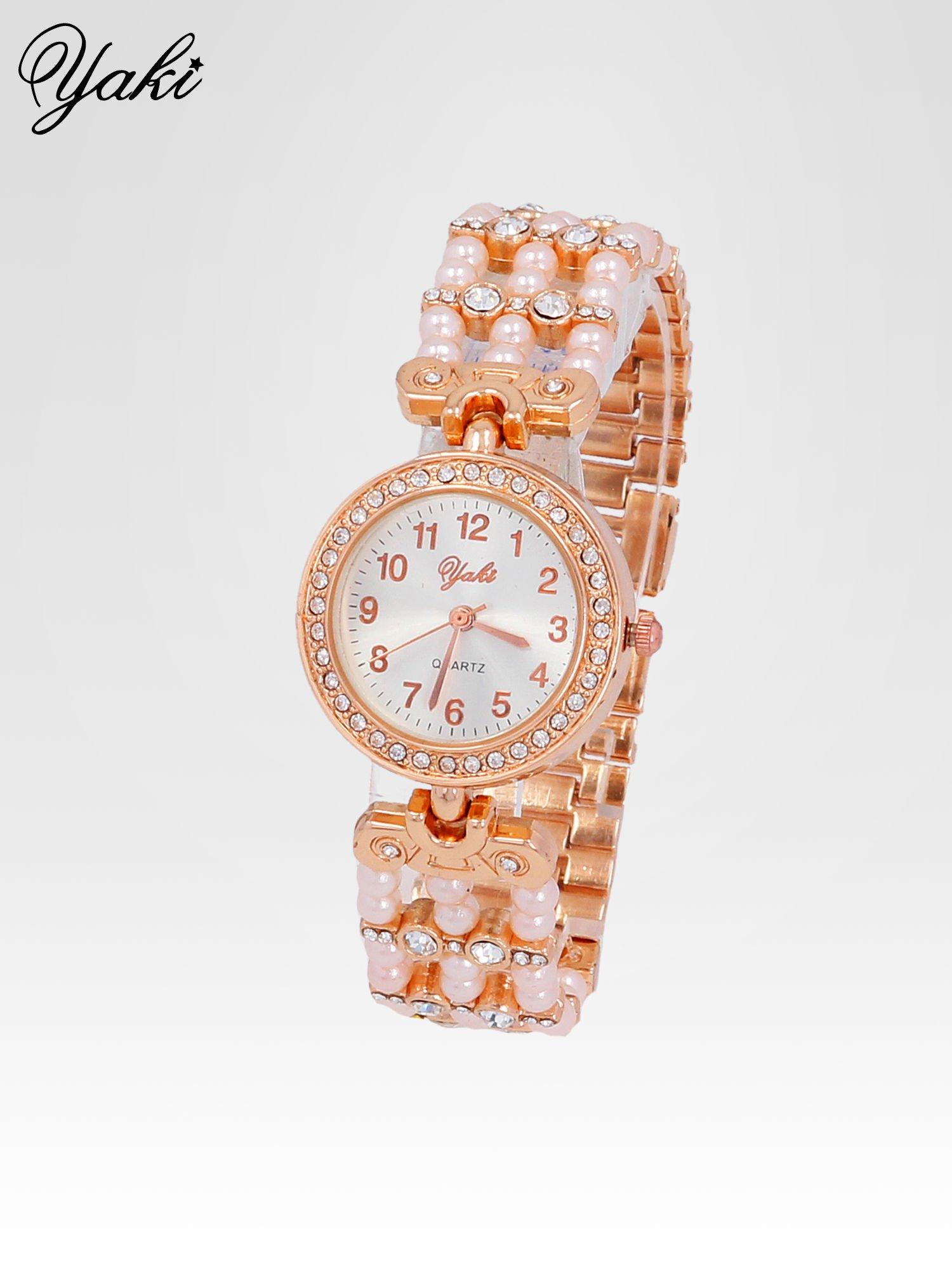 Biżuteryjny zegarek na bransolecie z cyrkoniami w kolorze różowego złota                                  zdj.                                  2