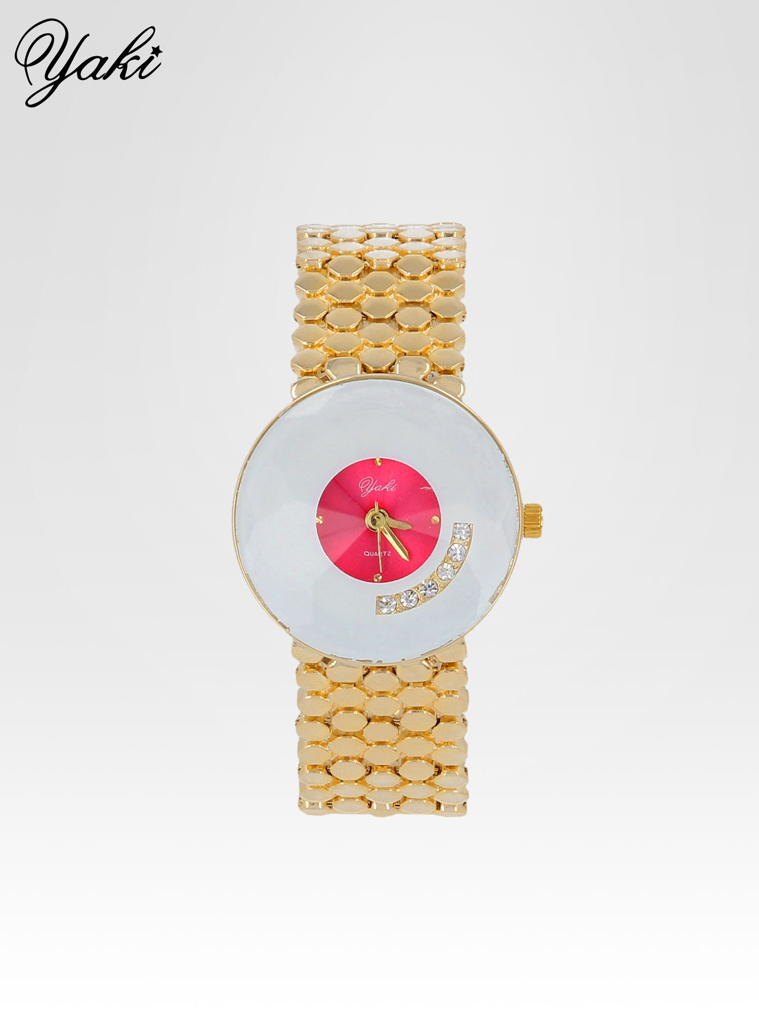 Biżuteryjny złoty zegarek damski z białożową tarczą z cyrkoniami                                  zdj.                                  1