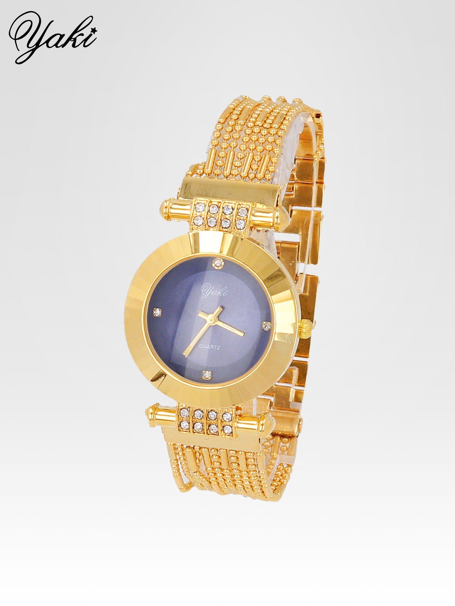 Biżuteryjny złoty zegarek damski z granatową tarczą                                  zdj.                                  2