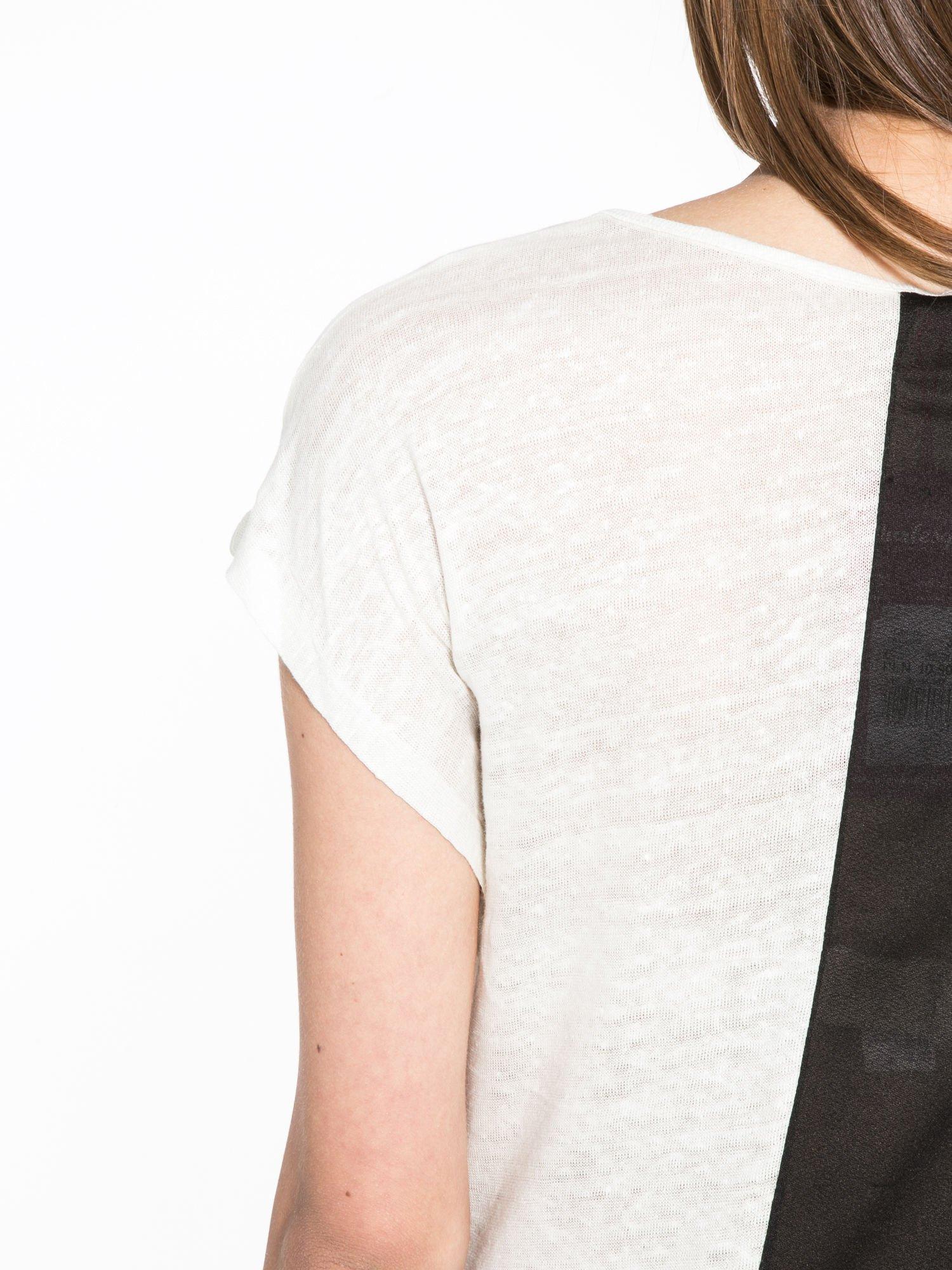 Blady ecru t-shirt z nadrukiem UNIVERSITY FORVER                                  zdj.                                  9