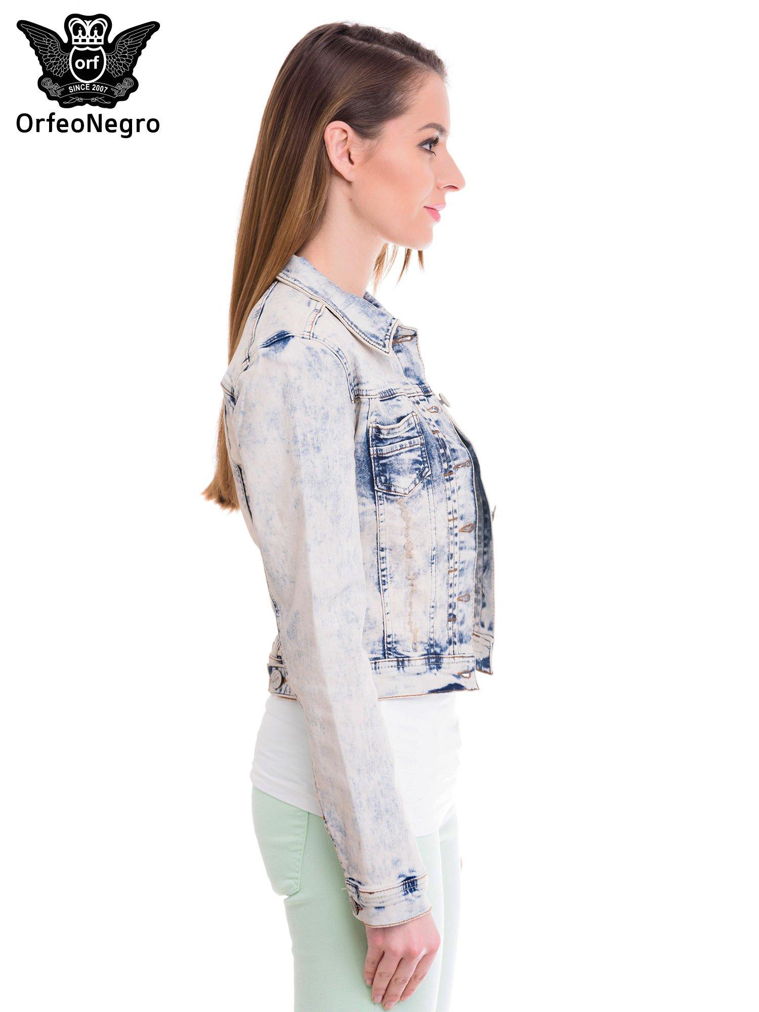 Błękitna kurtka jeansowa damska z marmurkowego denimu                                  zdj.                                  3