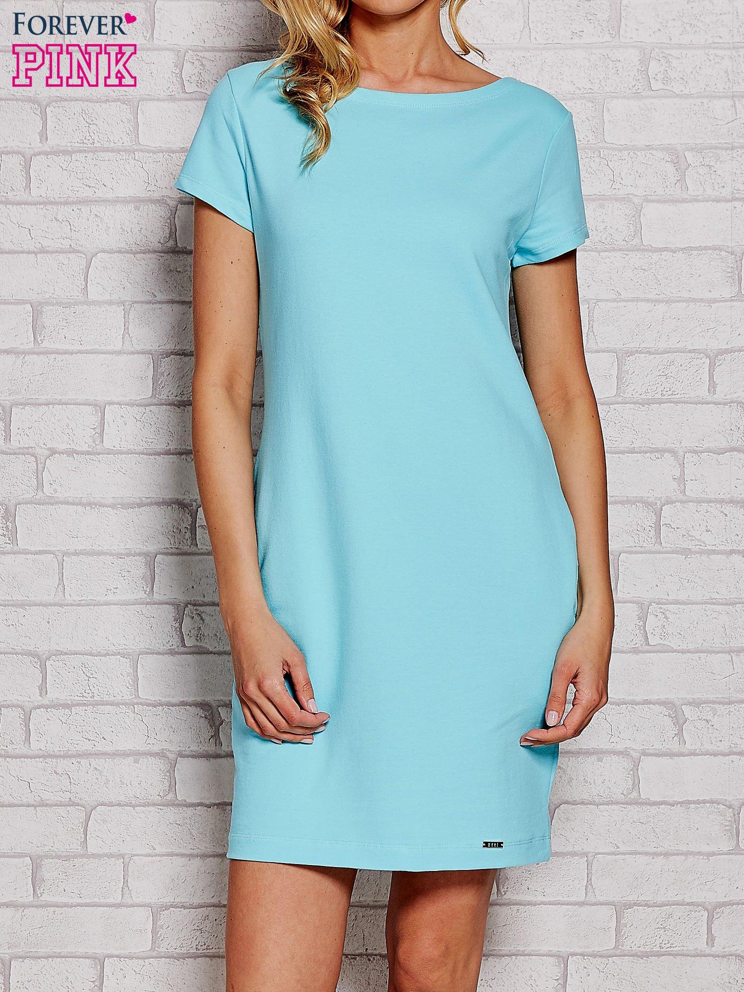 Błękitna Sukienka Dresowa Z Kieszeniami