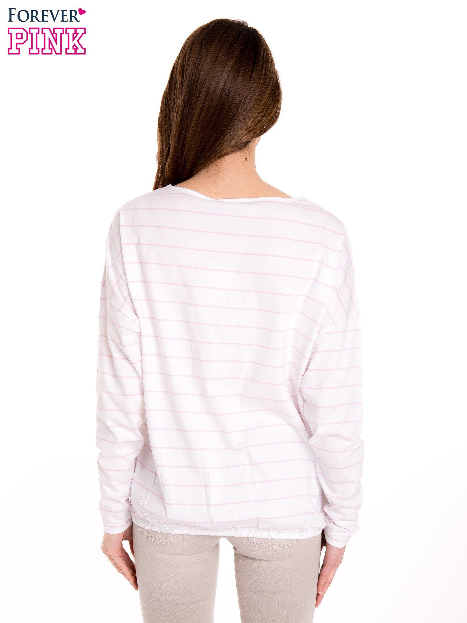 Bluzka w biało-różowe paski z gumką u dołu                                  zdj.                                  4
