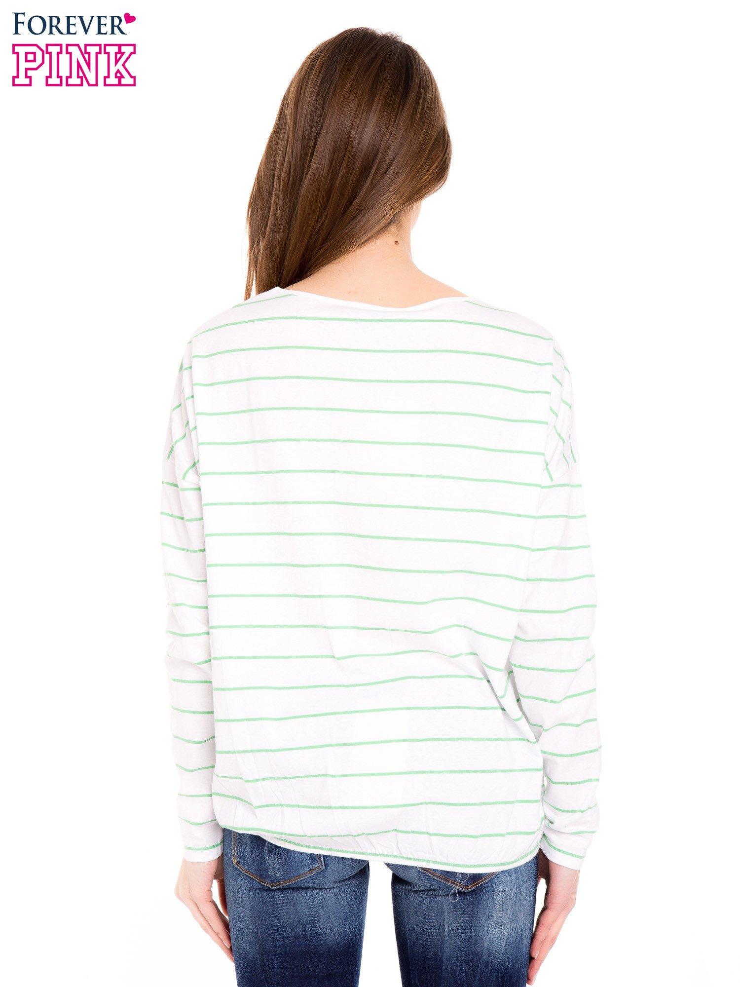 Bluzka w biało-zielone paski z gumką u dołu                                  zdj.                                  4