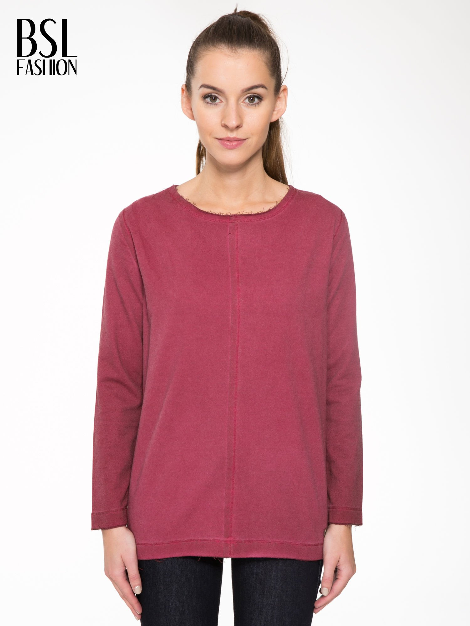 Bordowa bluza z surowym wykończeniem i widocznymi szwami                                  zdj.                                  1