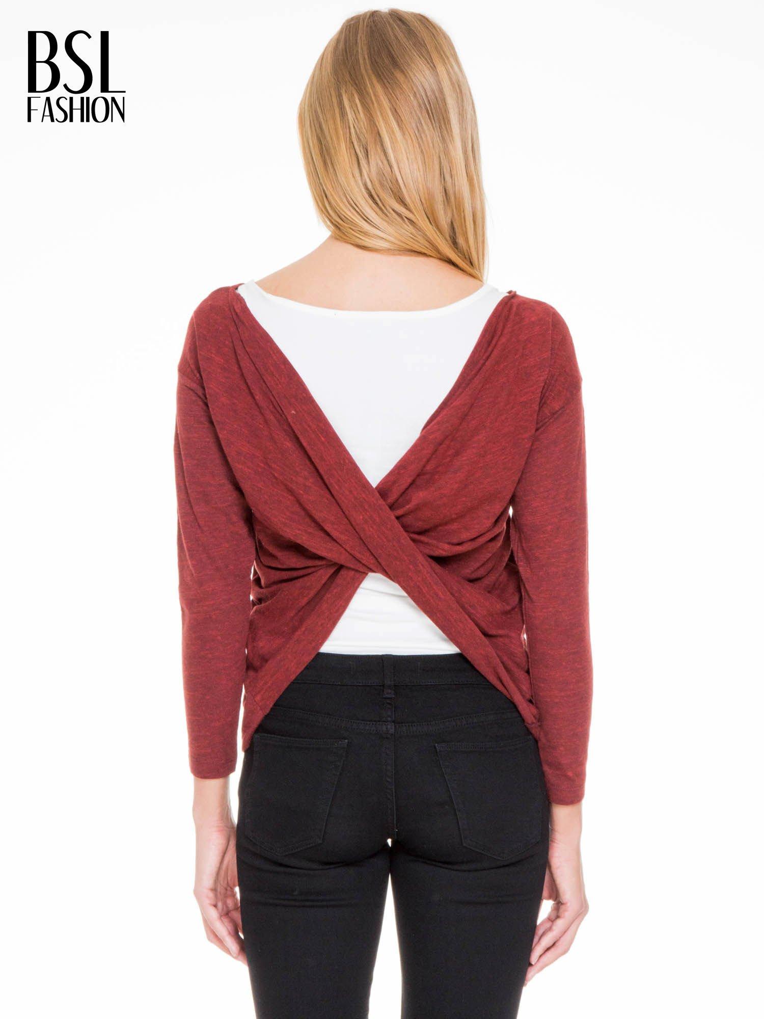 Bordowa bluzka z kopertowym dekoltem na plecach                                  zdj.                                  6