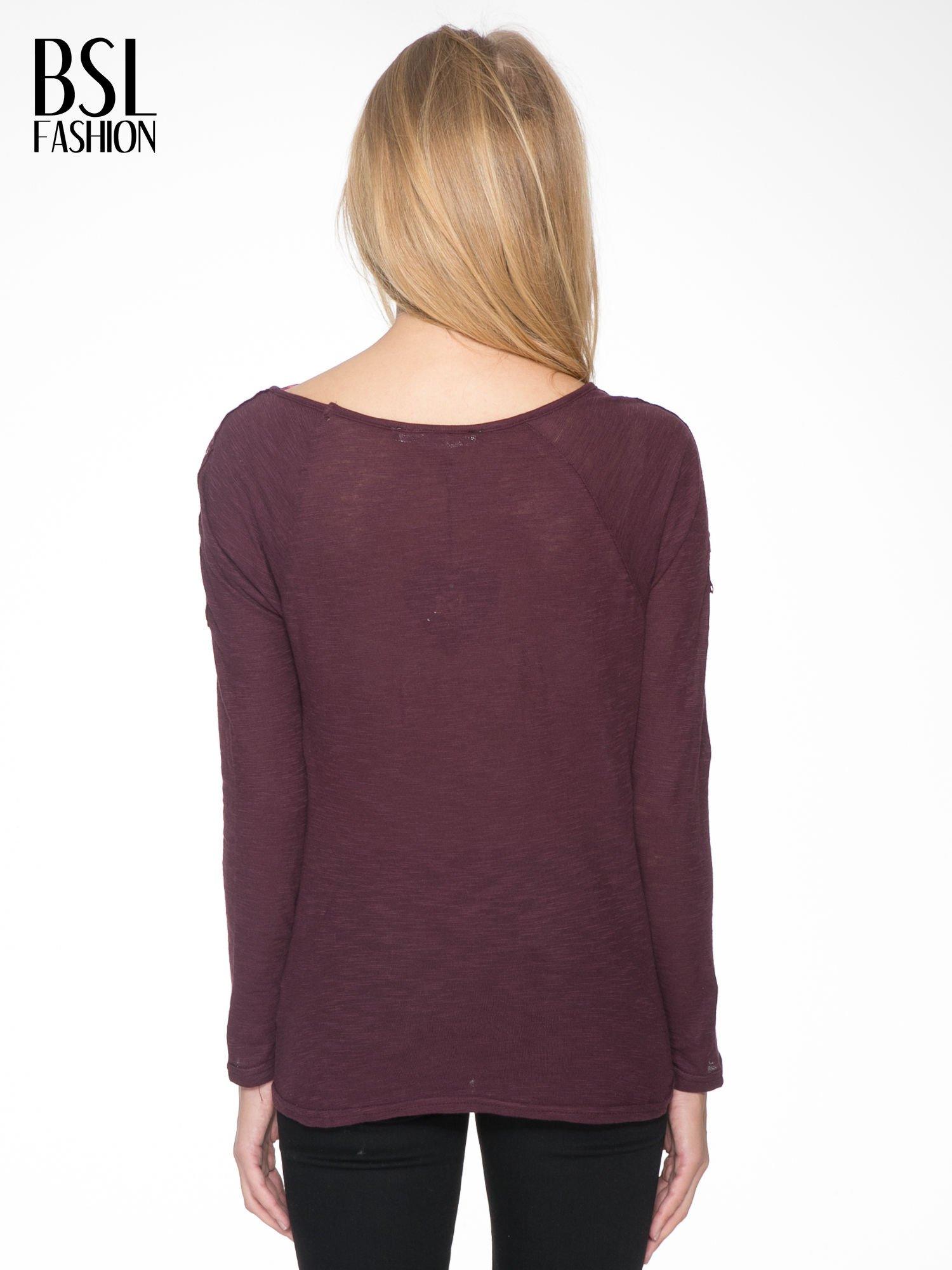 Bordowa bluzka z koronkową górą                                  zdj.                                  4