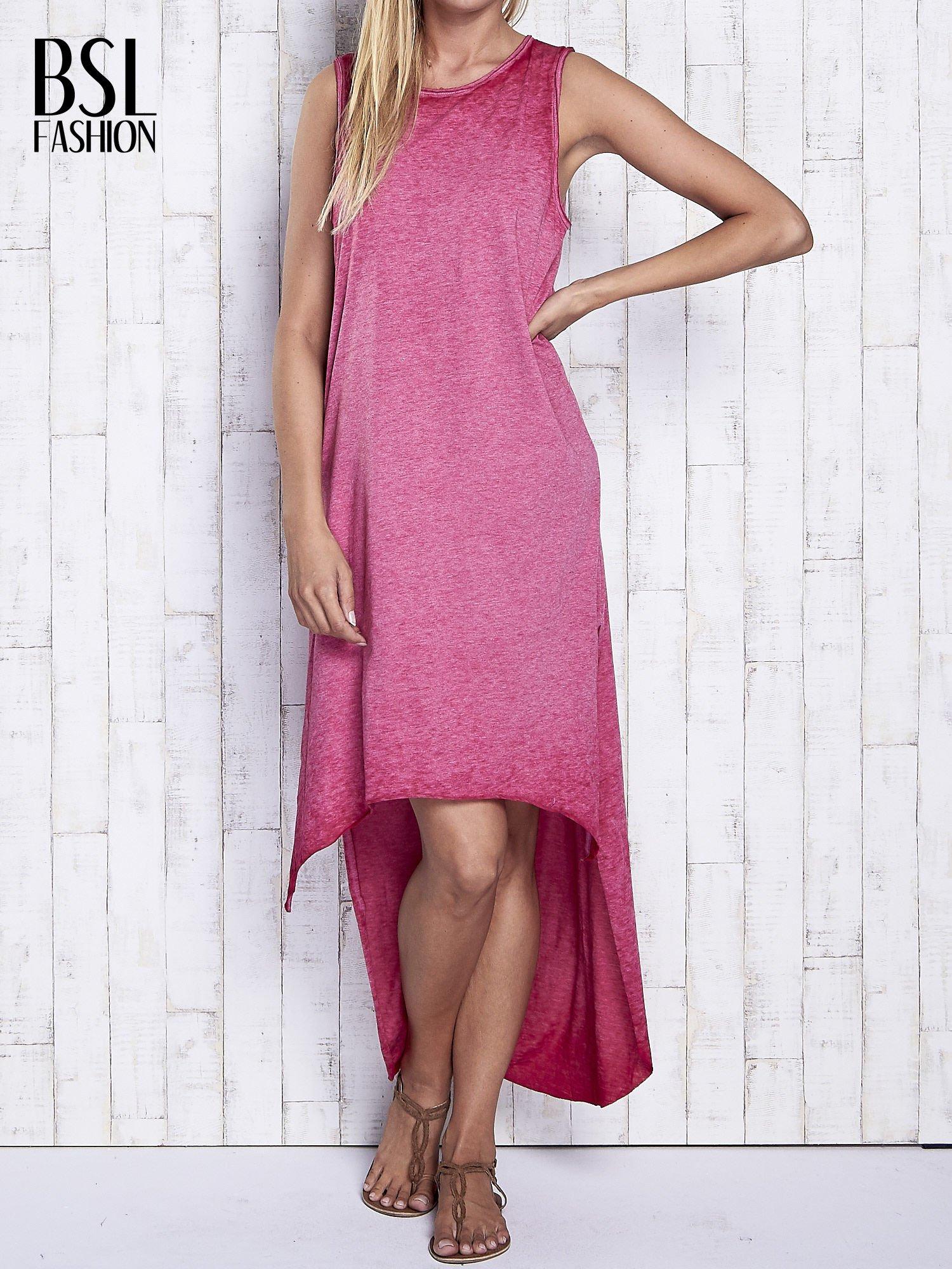 Bordowa dekatyzowana sukienka maxi z dłuższym tyłem                                  zdj.                                  1