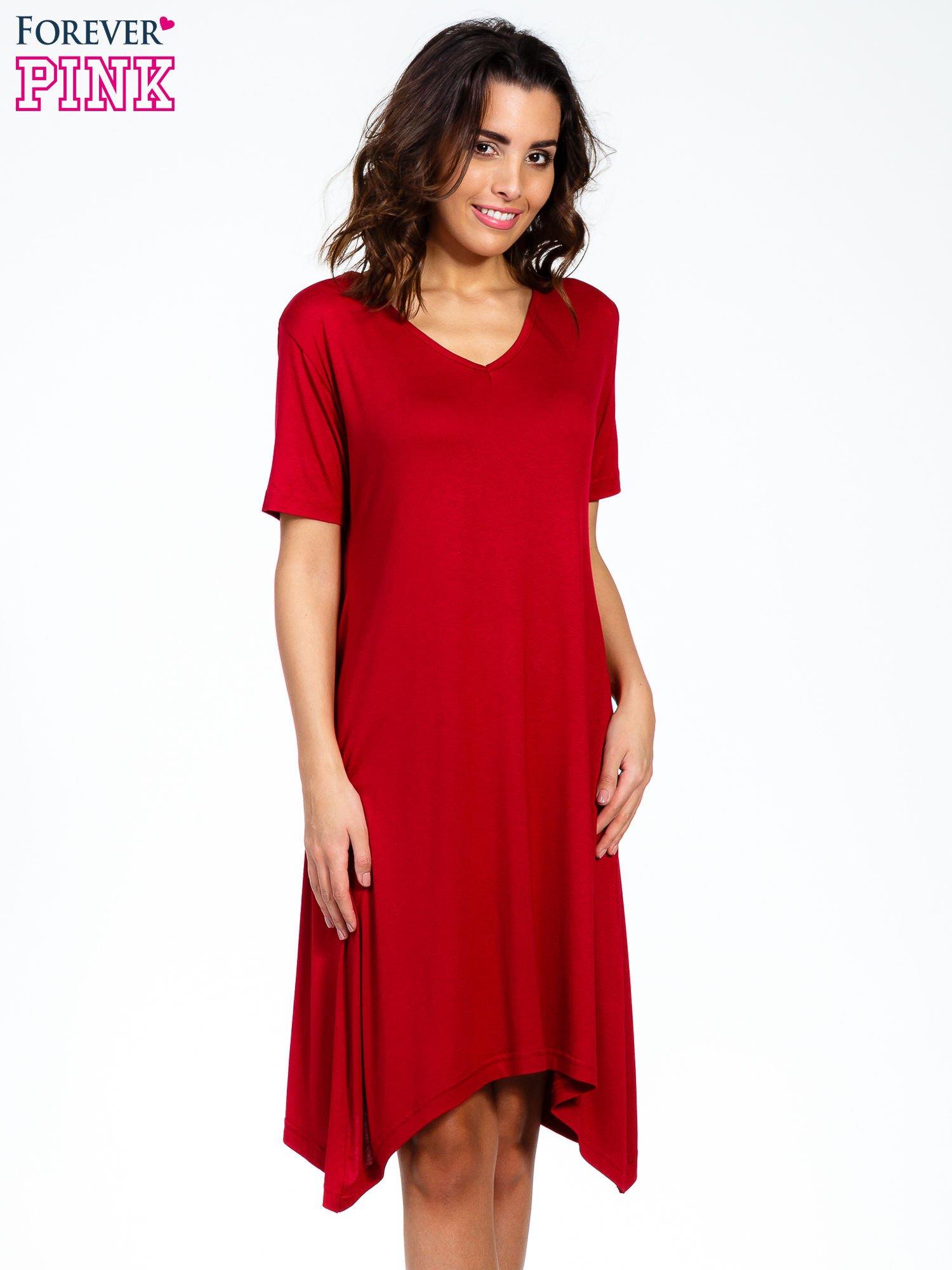 Bordowa luźna sukienka z asymetrycznym dołem                                  zdj.                                  5