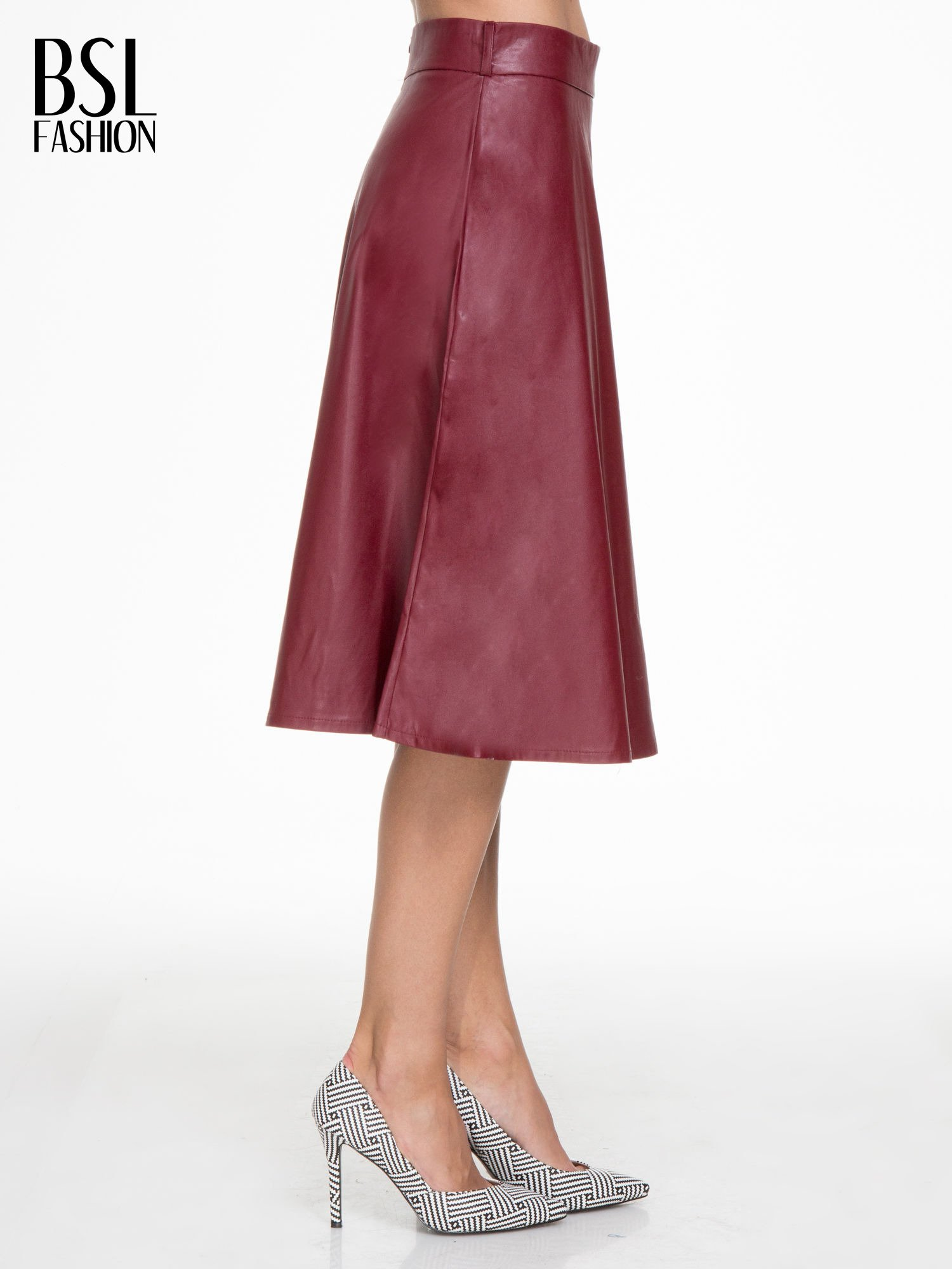 Bordowa skórzana spódnica midi szyta z półkola                                  zdj.                                  3