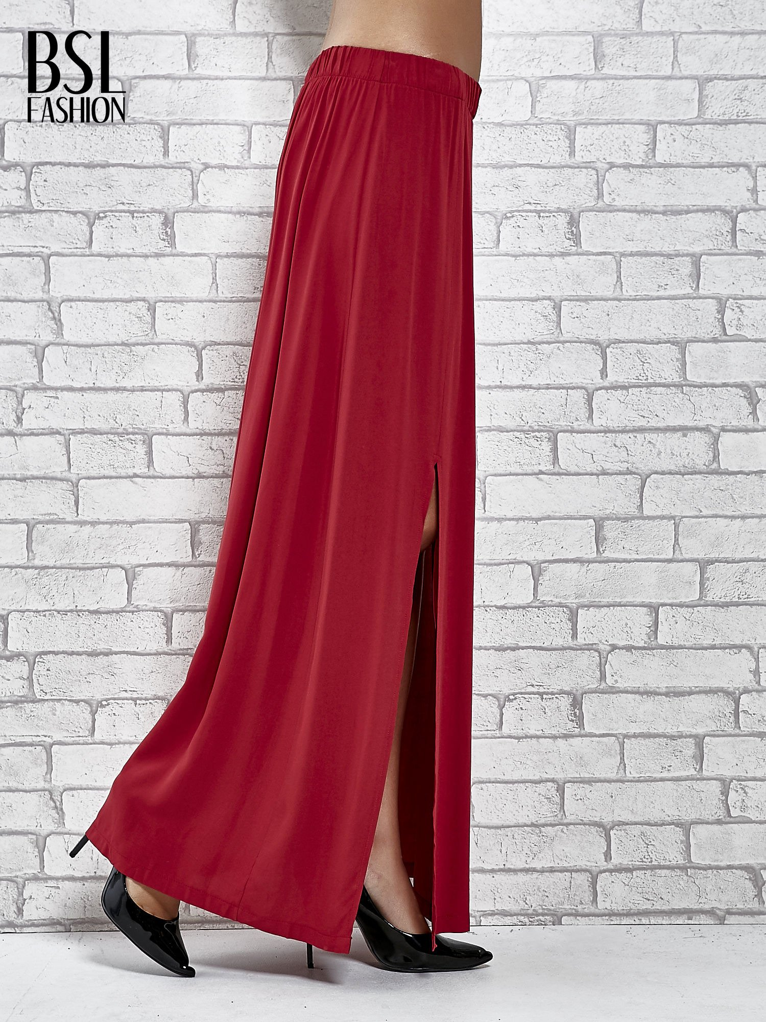 Bordowa spódnica maxi z rozporkami z przodu                                  zdj.                                  3