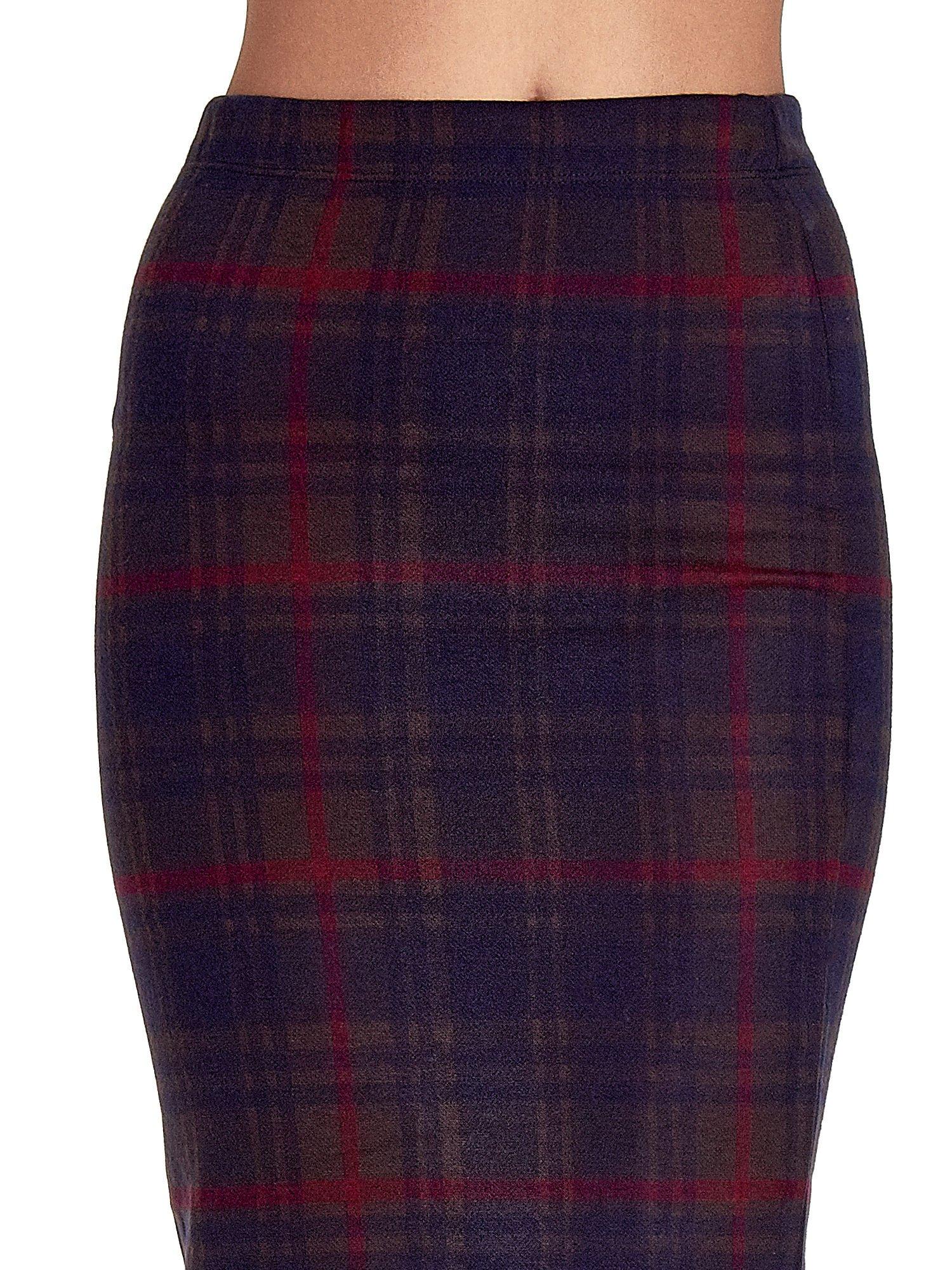 Bordowa spódnica ołówkowa w kratę                                  zdj.                                  5