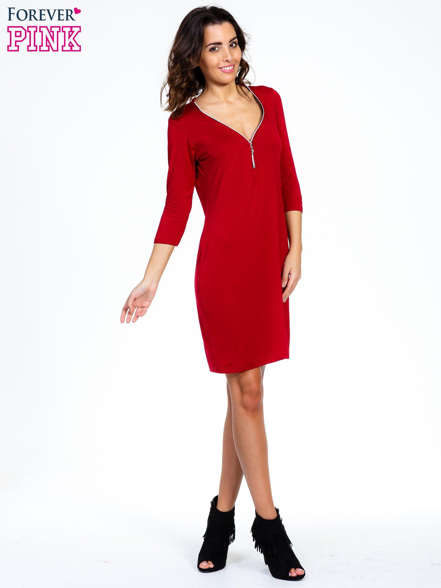 Bordowa sukienka z suwakiem                                  zdj.                                  2