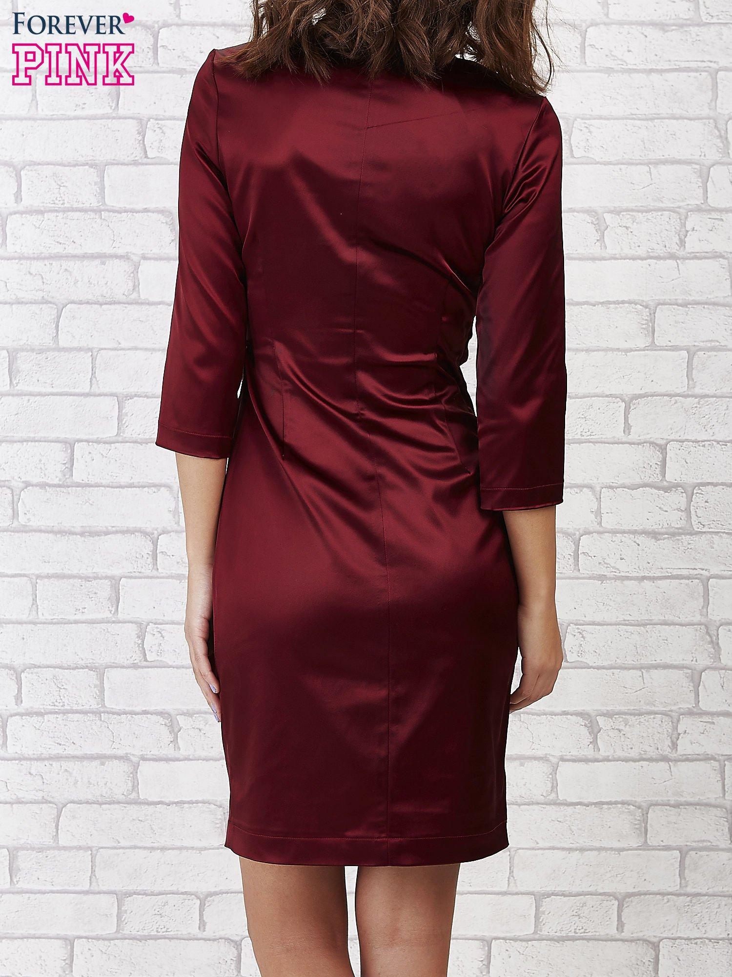 Bordowa sukienka ze srebrną kokardą                                   zdj.                                  3