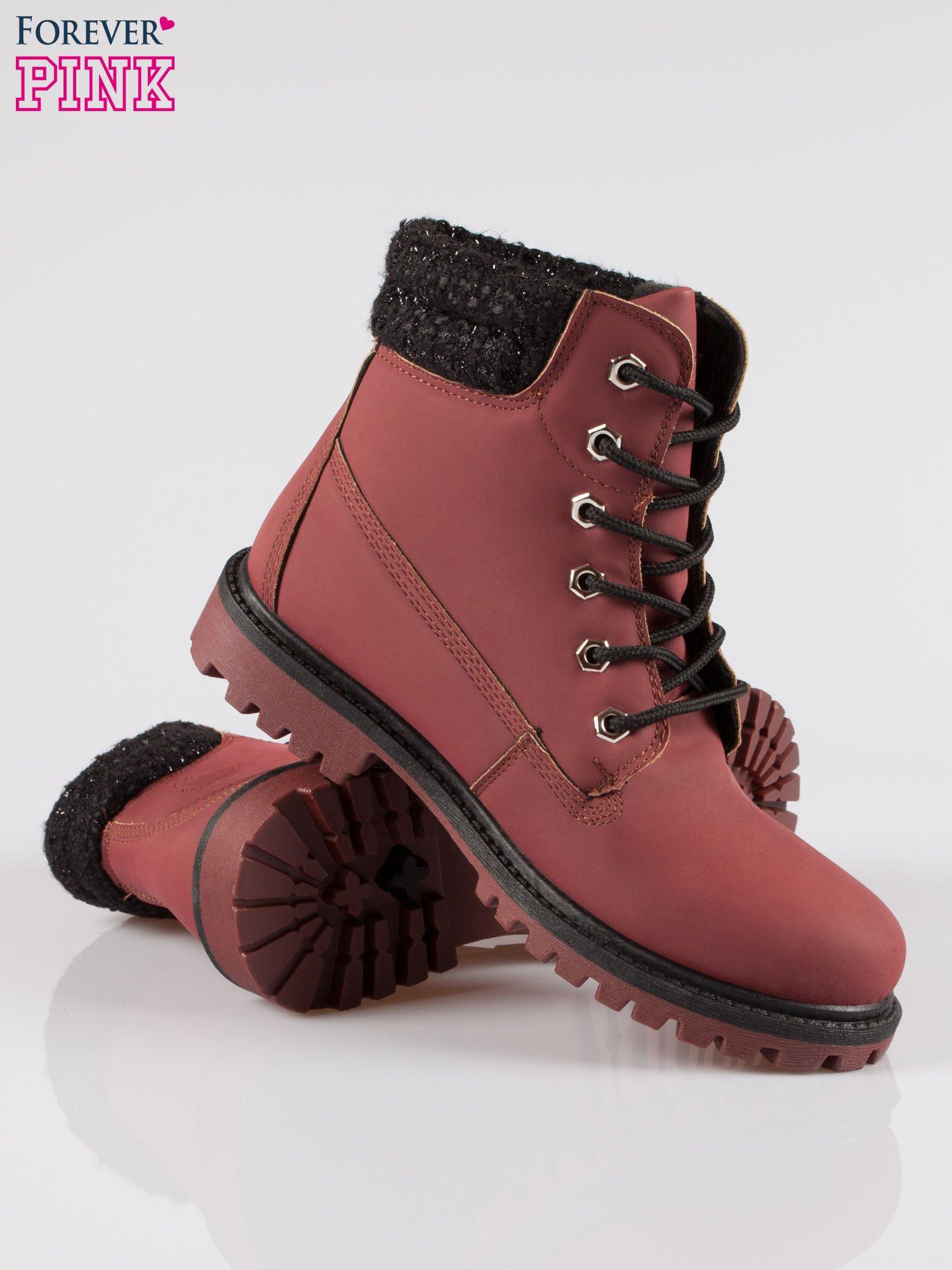 Bordowe buty trekkingowe traperki z ozdobnym kołnierzem                                  zdj.                                  4