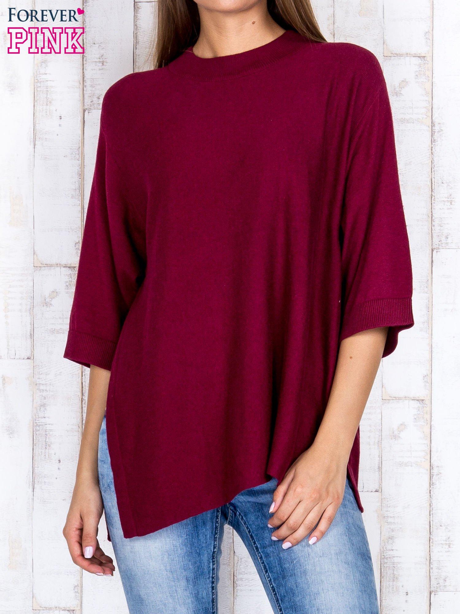 Bordowy luźny sweter oversize z bocznymi rozcięciami                                  zdj.                                  1