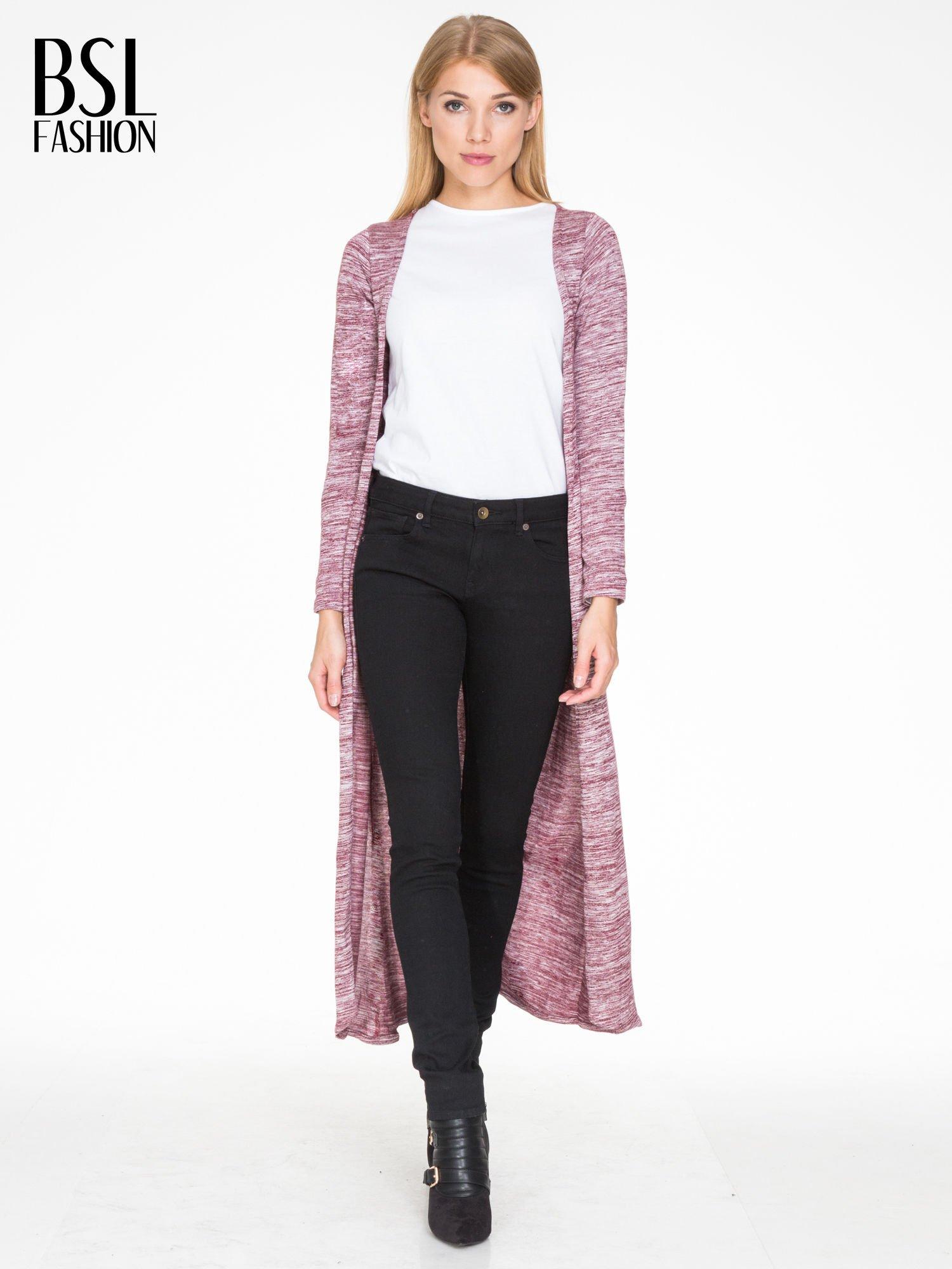 Bordowy melanżowy długi sweter typu kardigan                                  zdj.                                  4