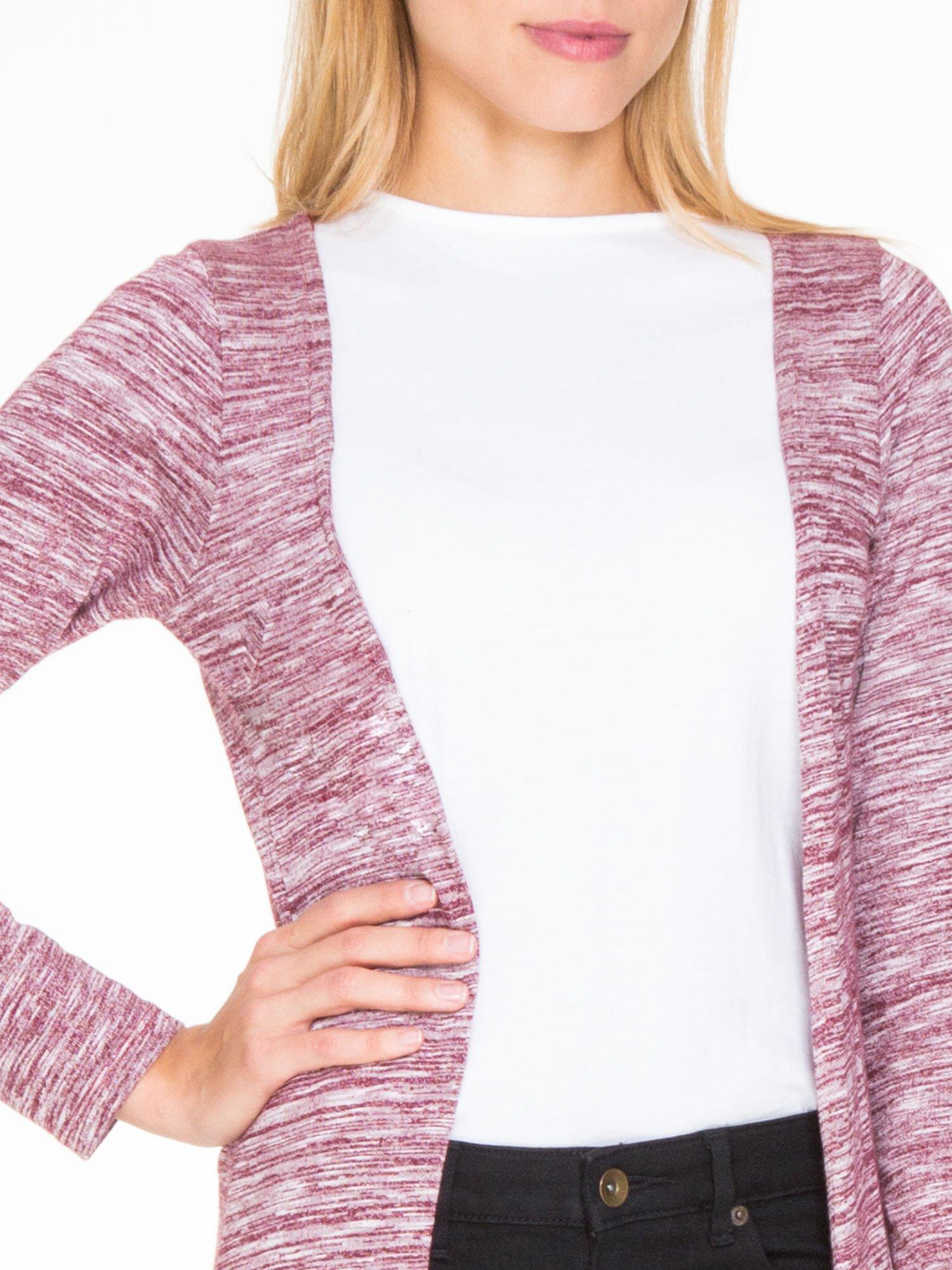 Bordowy melanżowy długi sweter typu kardigan                                  zdj.                                  5