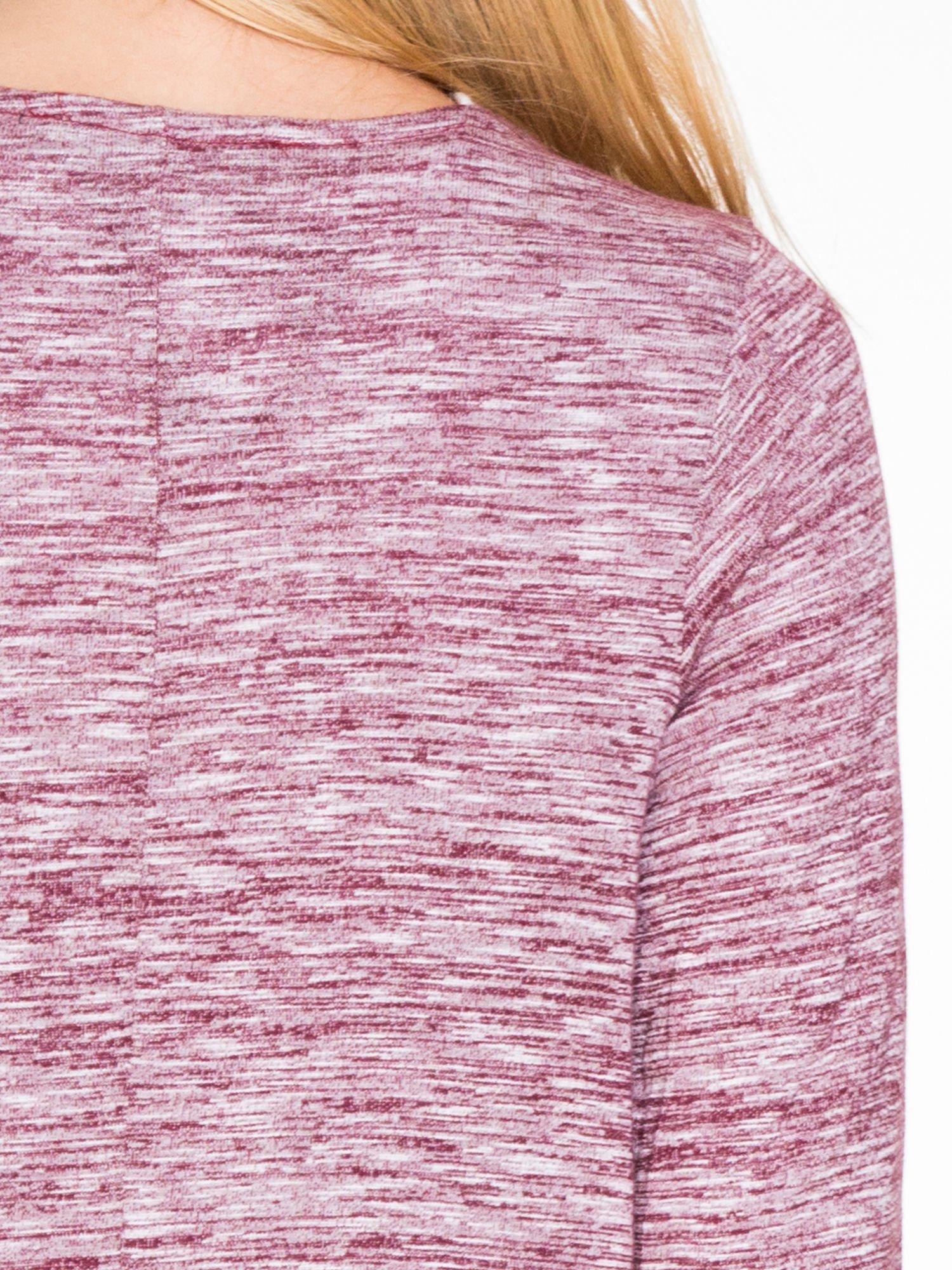 Bordowy melanżowy długi sweter typu kardigan                                  zdj.                                  6