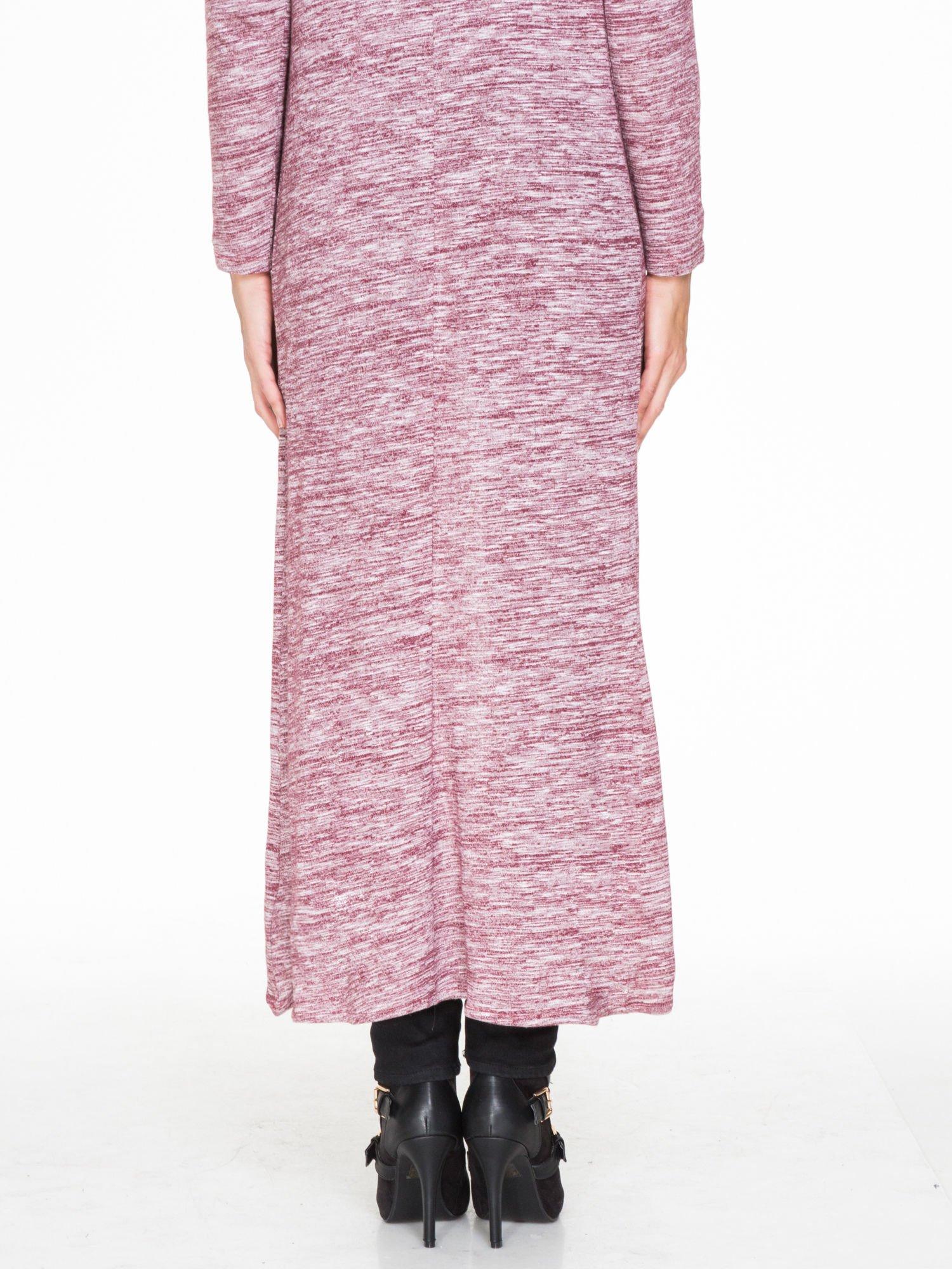 Bordowy melanżowy długi sweter typu kardigan                                  zdj.                                  7