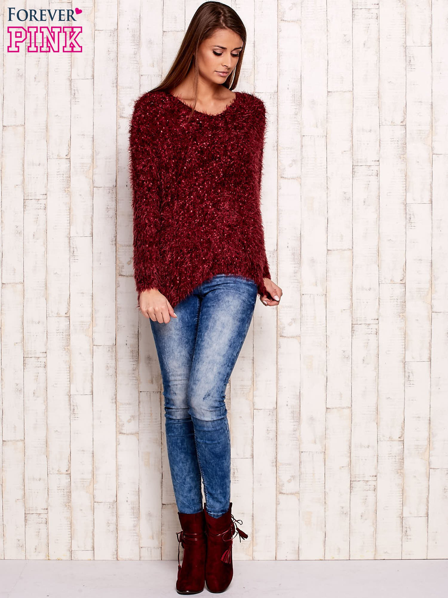 Bordowy sweter long hair                                  zdj.                                  4
