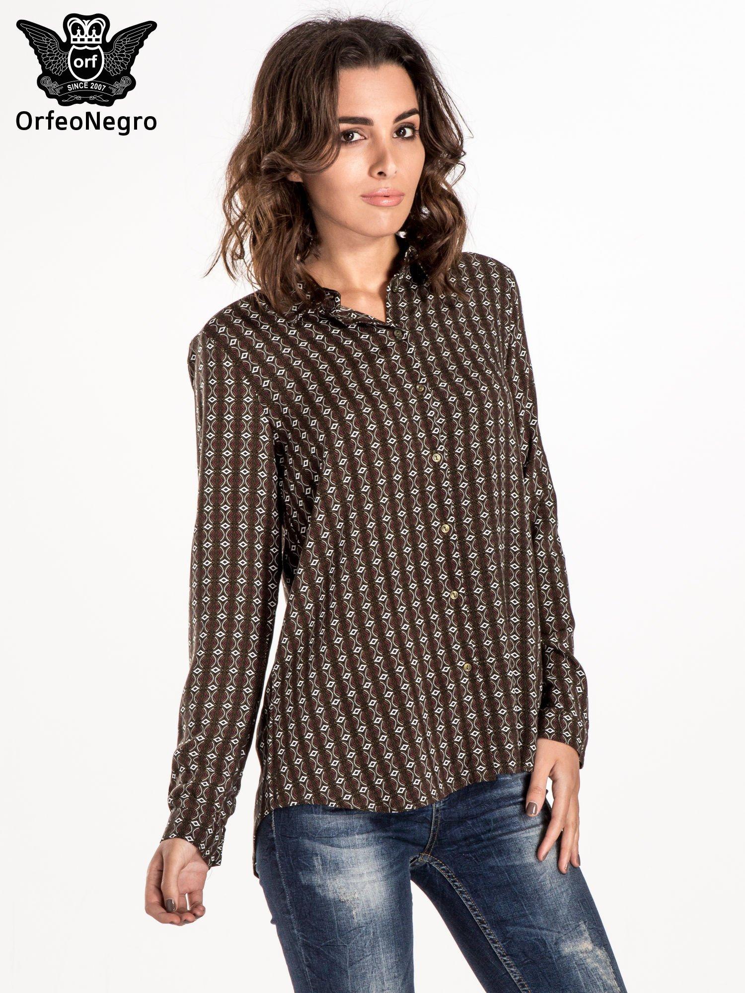Brązowa koszula w geometryczne wzory                                  zdj.                                  1