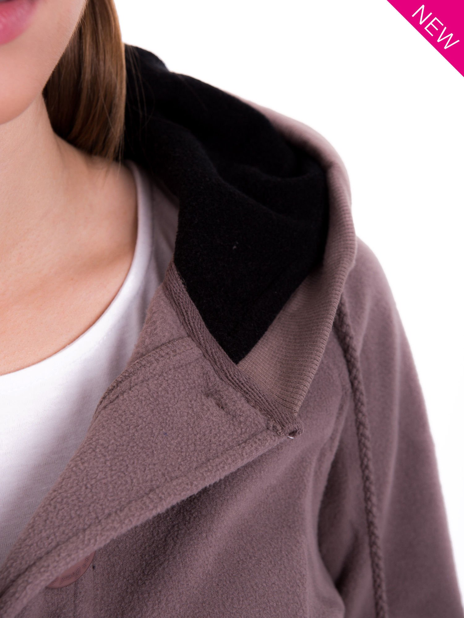 Brązowa polarowa bluza z kapturem z uszkami                                  zdj.                                  10