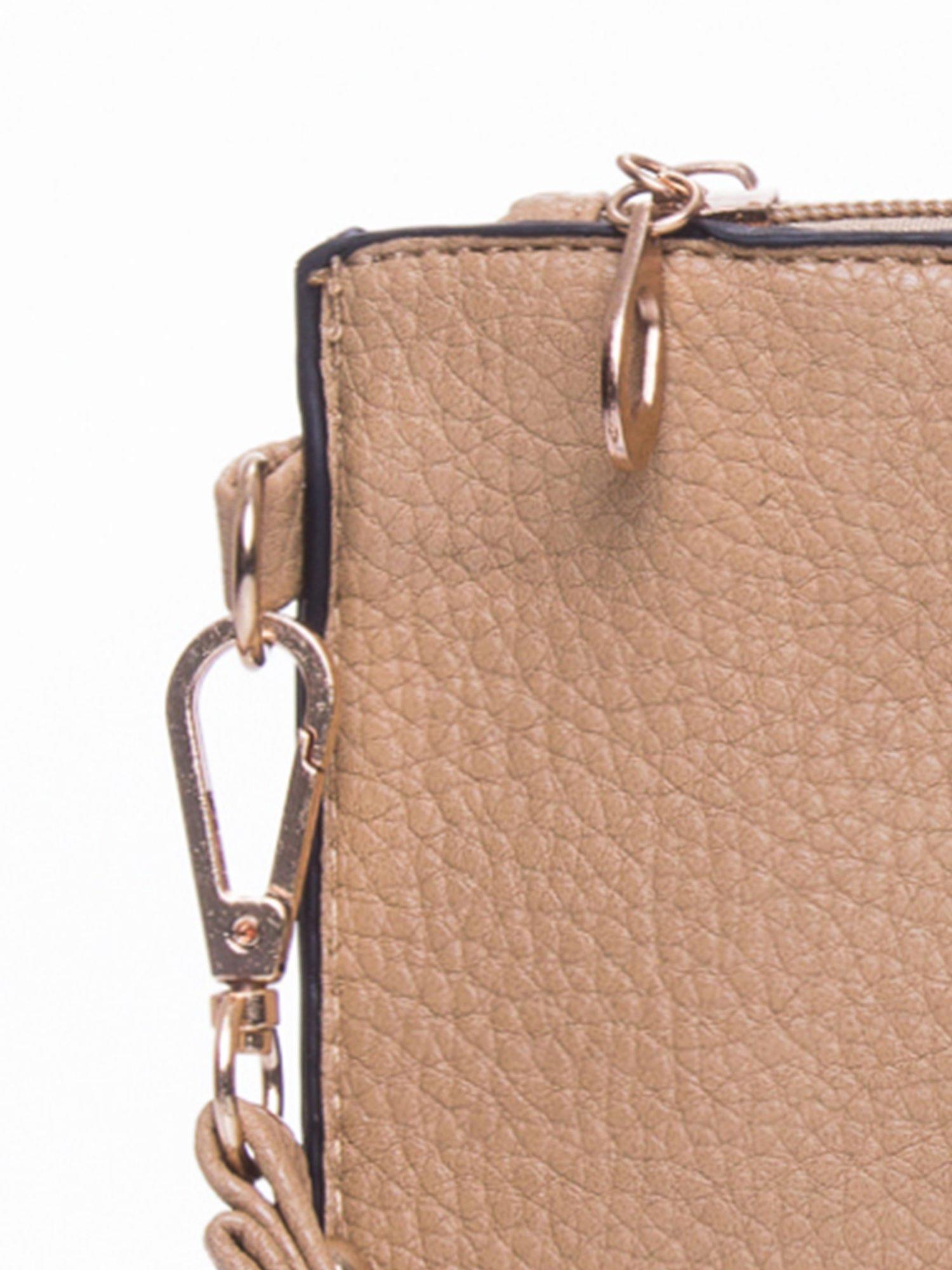Brązowa prosta przewieszana torebka z uchwytem                                  zdj.                                  7