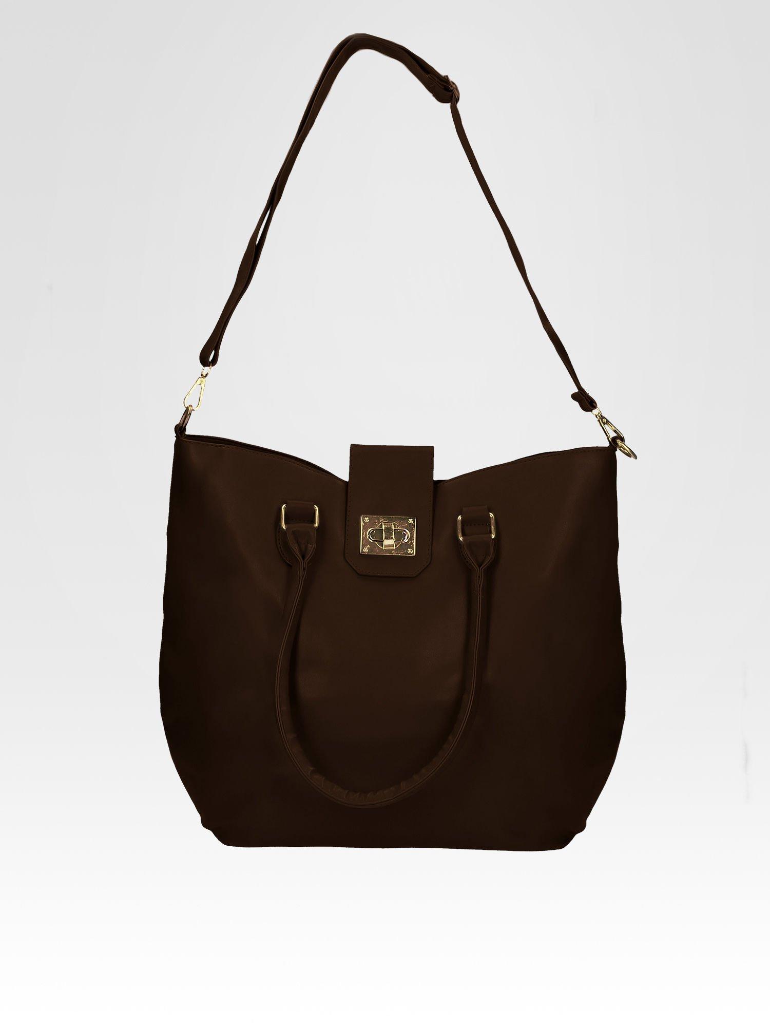 Brązowa torebka city bag z zatrzaskiem                                  zdj.                                  5
