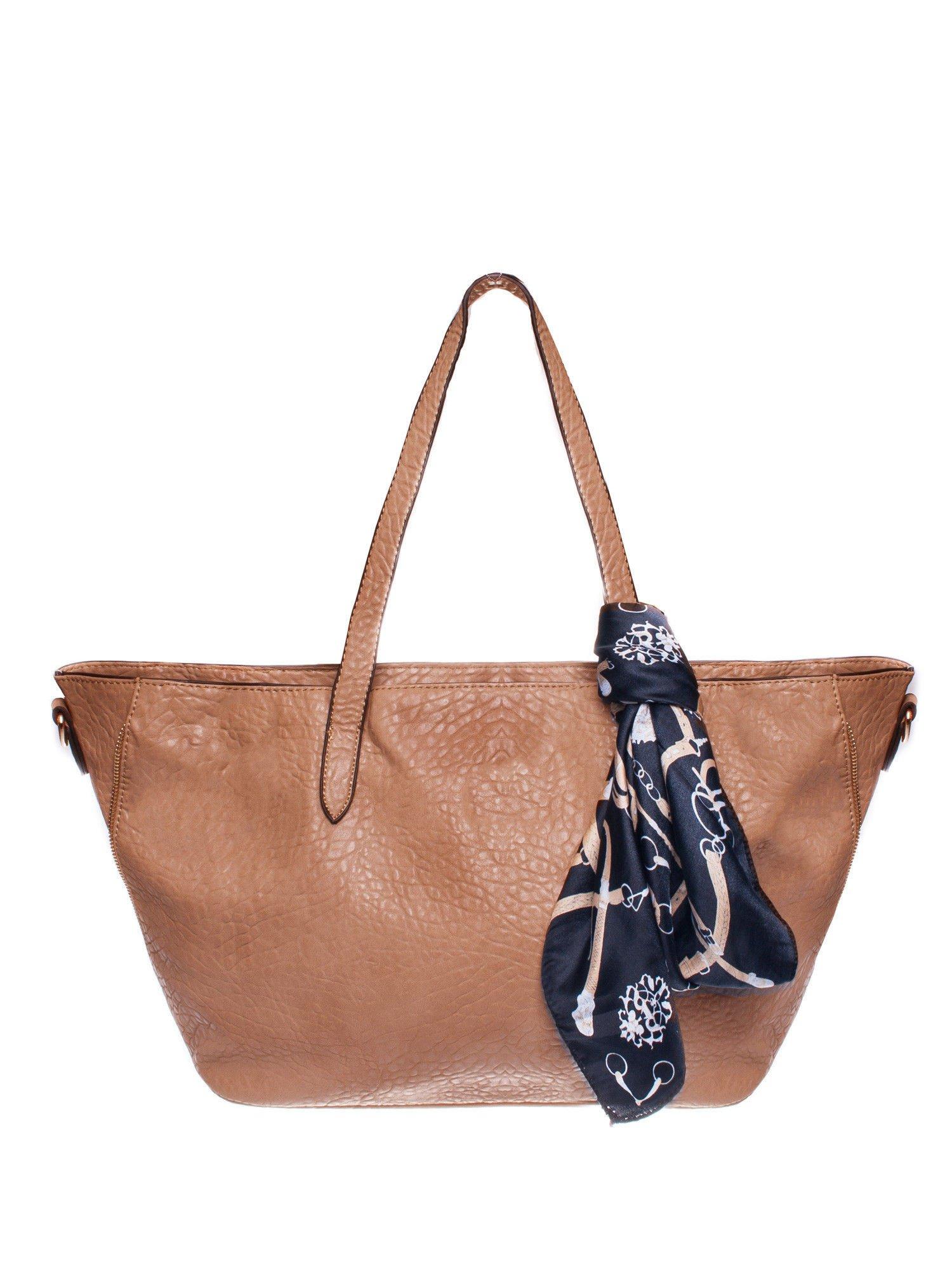 Brązowa torebka shopper bag z apaszką                                  zdj.                                  1