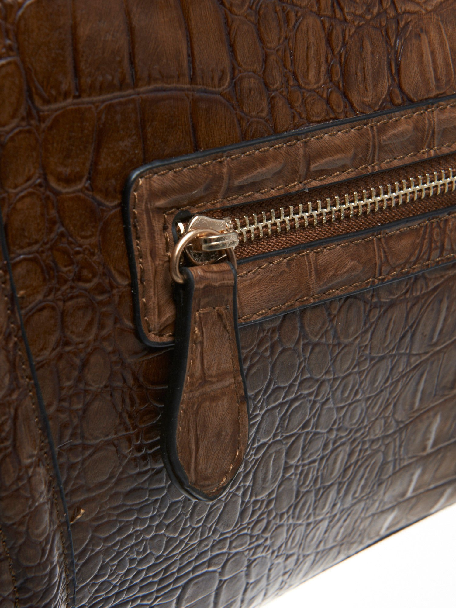 Brązowa trapezowa torba miejska z efektem skóry krokodyla                                  zdj.                                  5