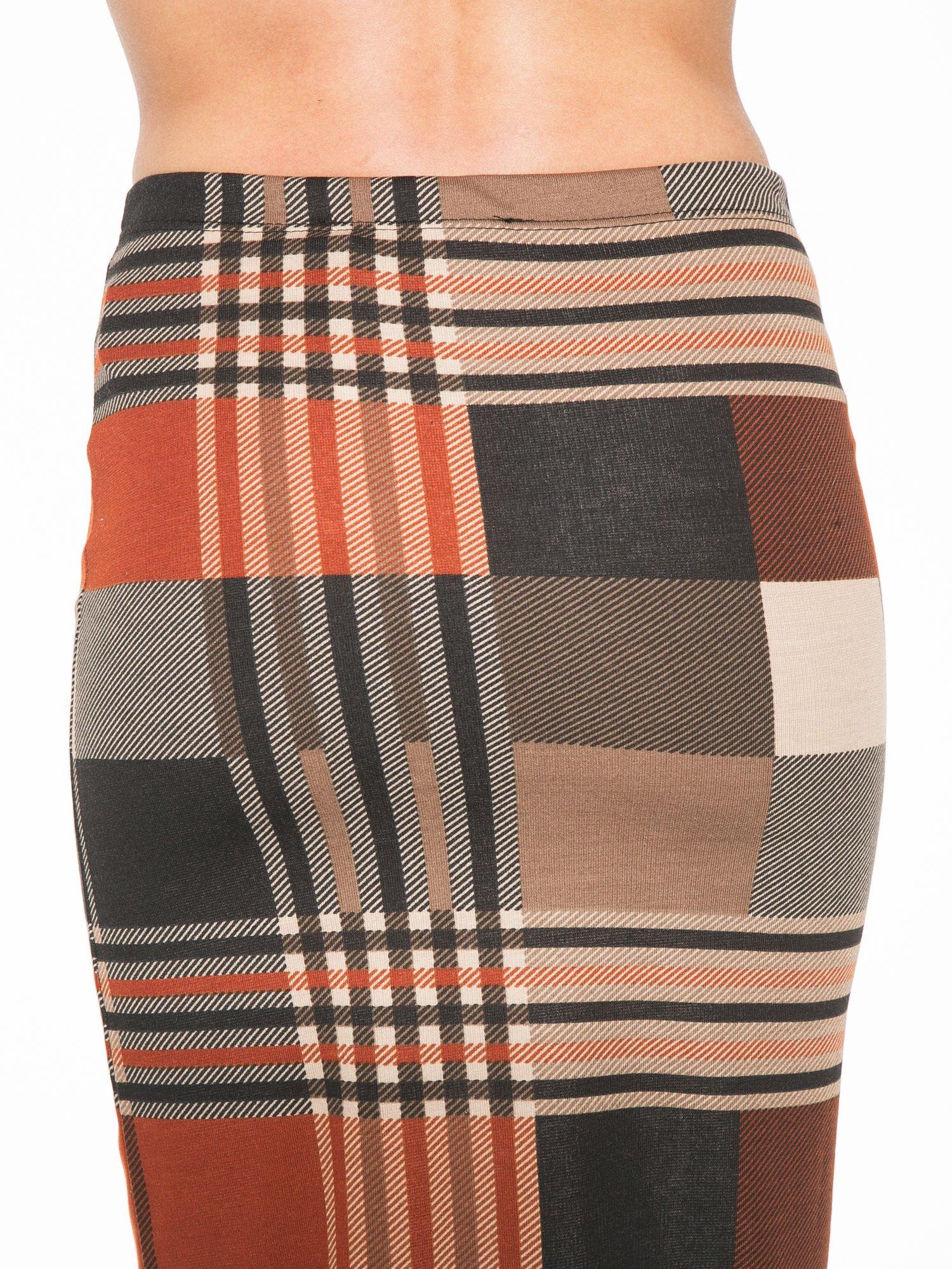 Brązowa wełniana ołówkowa spódnica w geometryczny nadruk                                  zdj.                                  7