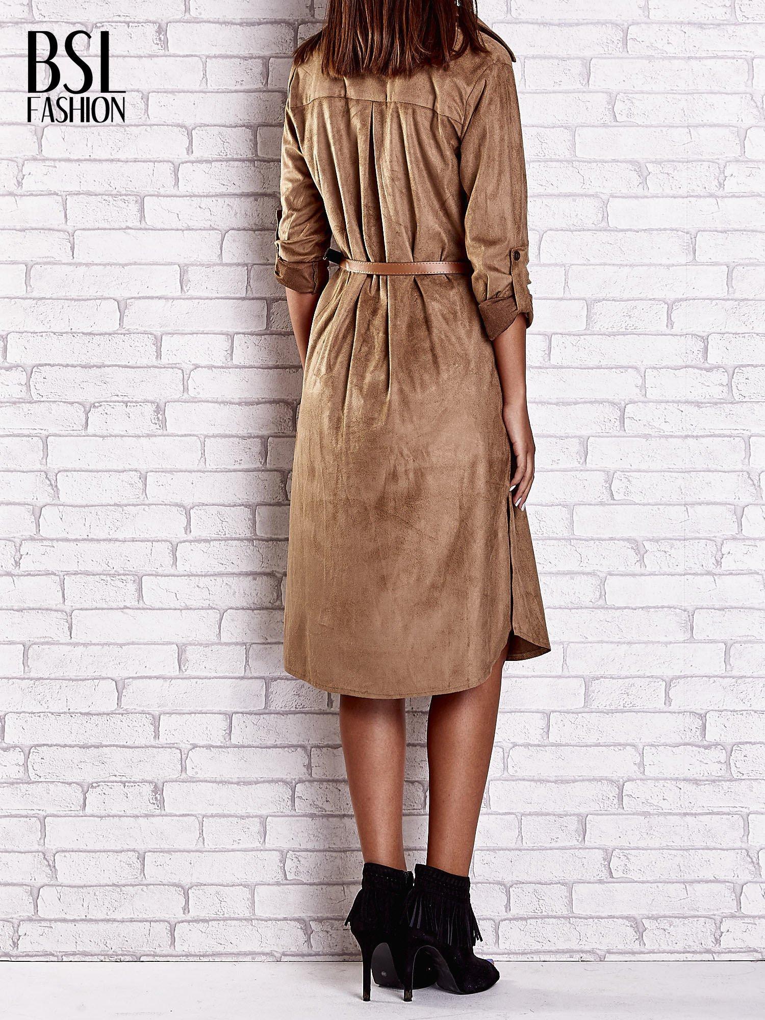 Brązowa zamszowa sukienka z rozcięciami po bokach                                  zdj.                                  2