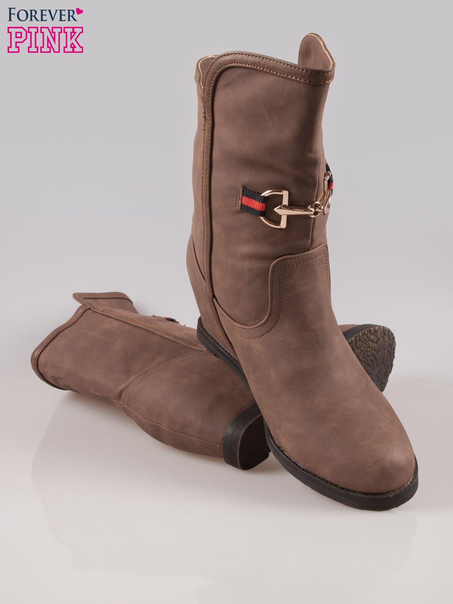 Brązowe botki leather Cocoa z ukrytym koturnem                                  zdj.                                  4
