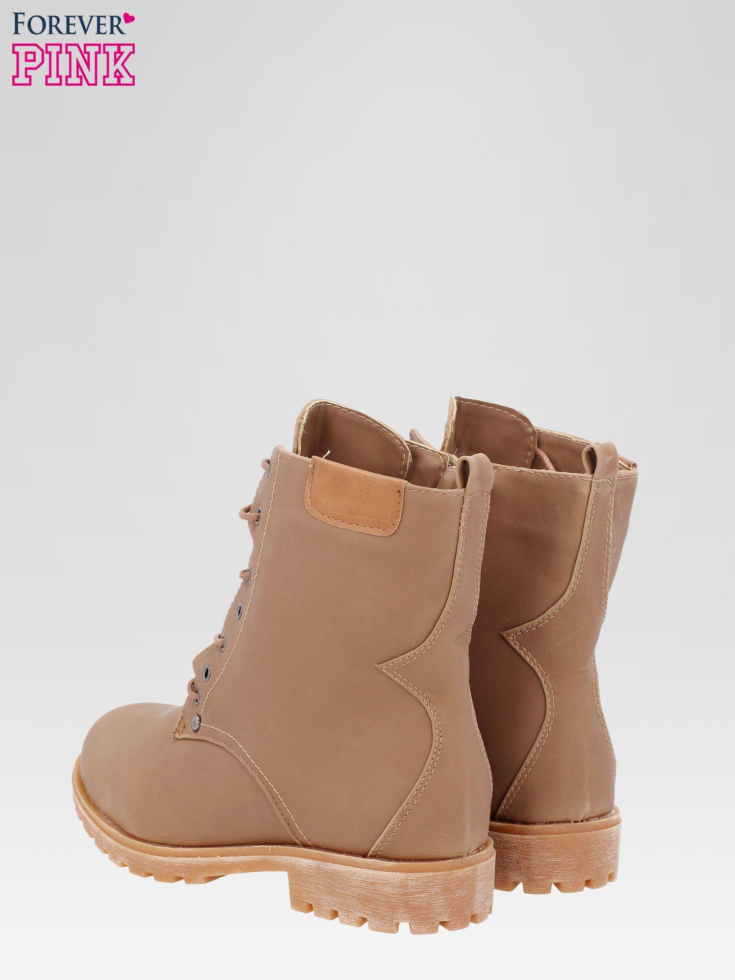 Brązowe damskie buty trekkingowe typu traperki                                  zdj.                                  5