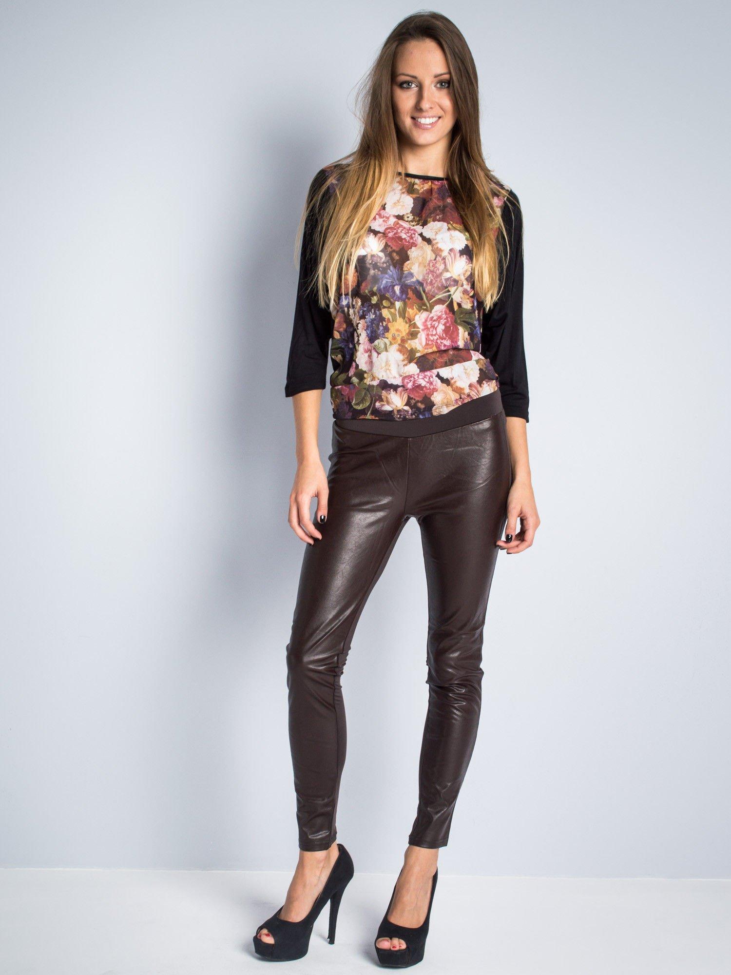 Brązowe dwustronne legginsy skórzane                                  zdj.                                  2