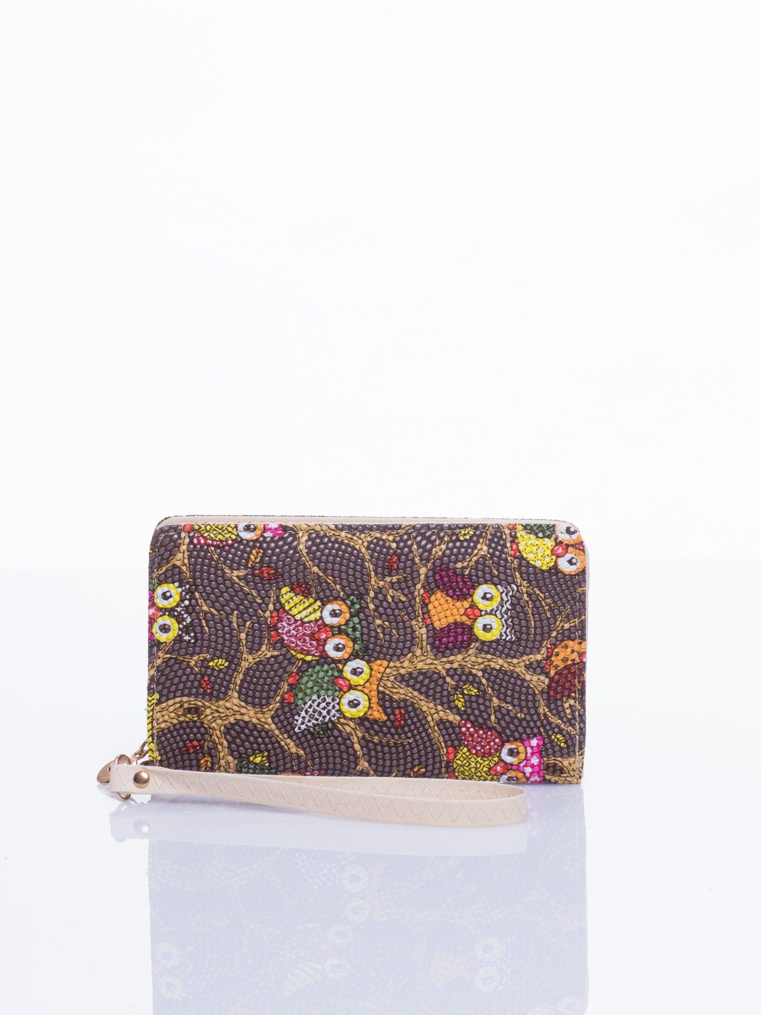 Brązowy mini portfel w sówki                                  zdj.                                  1