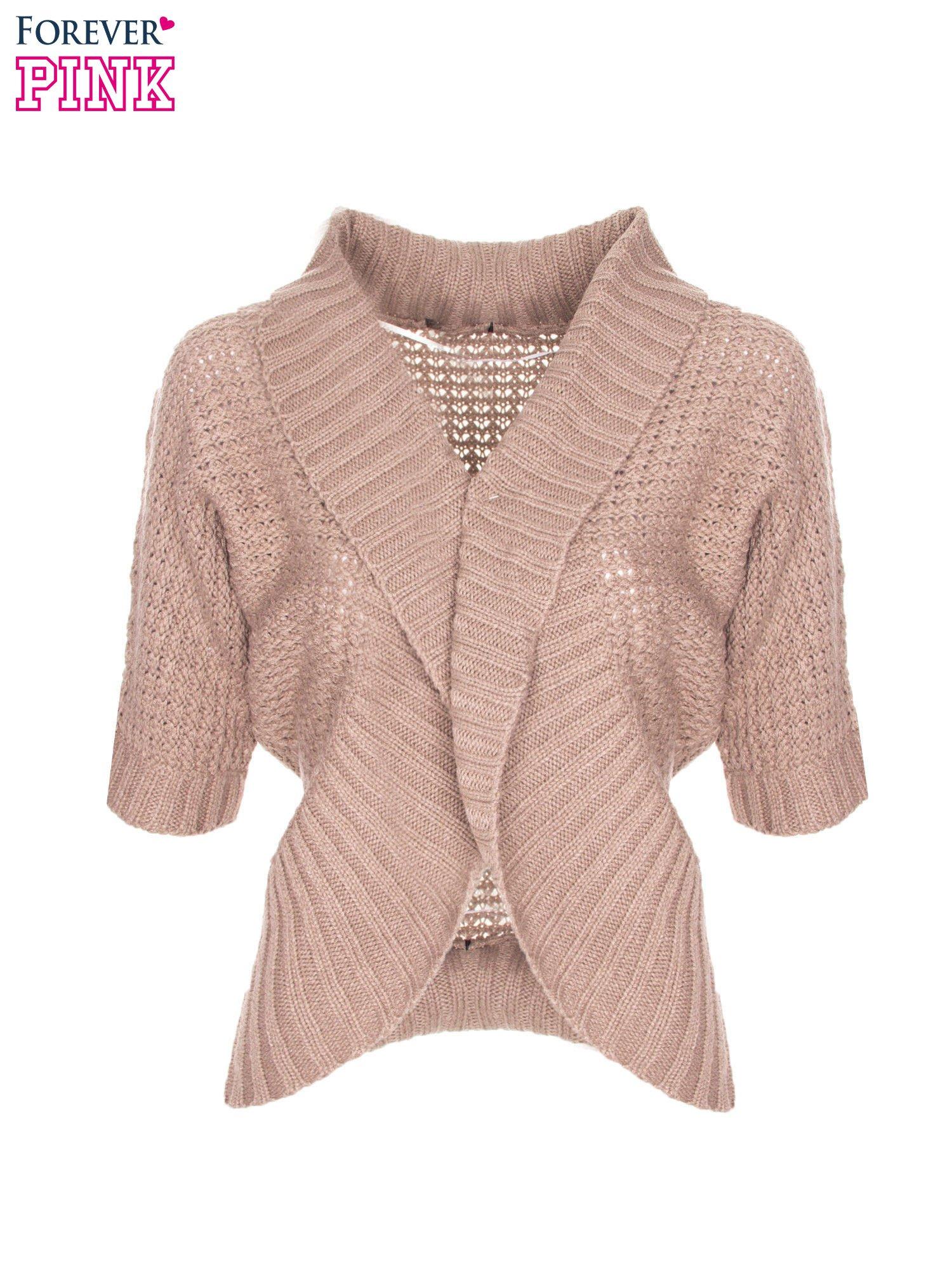 Brązowy sweter narzutka z rękawem 3/4                                  zdj.                                  5