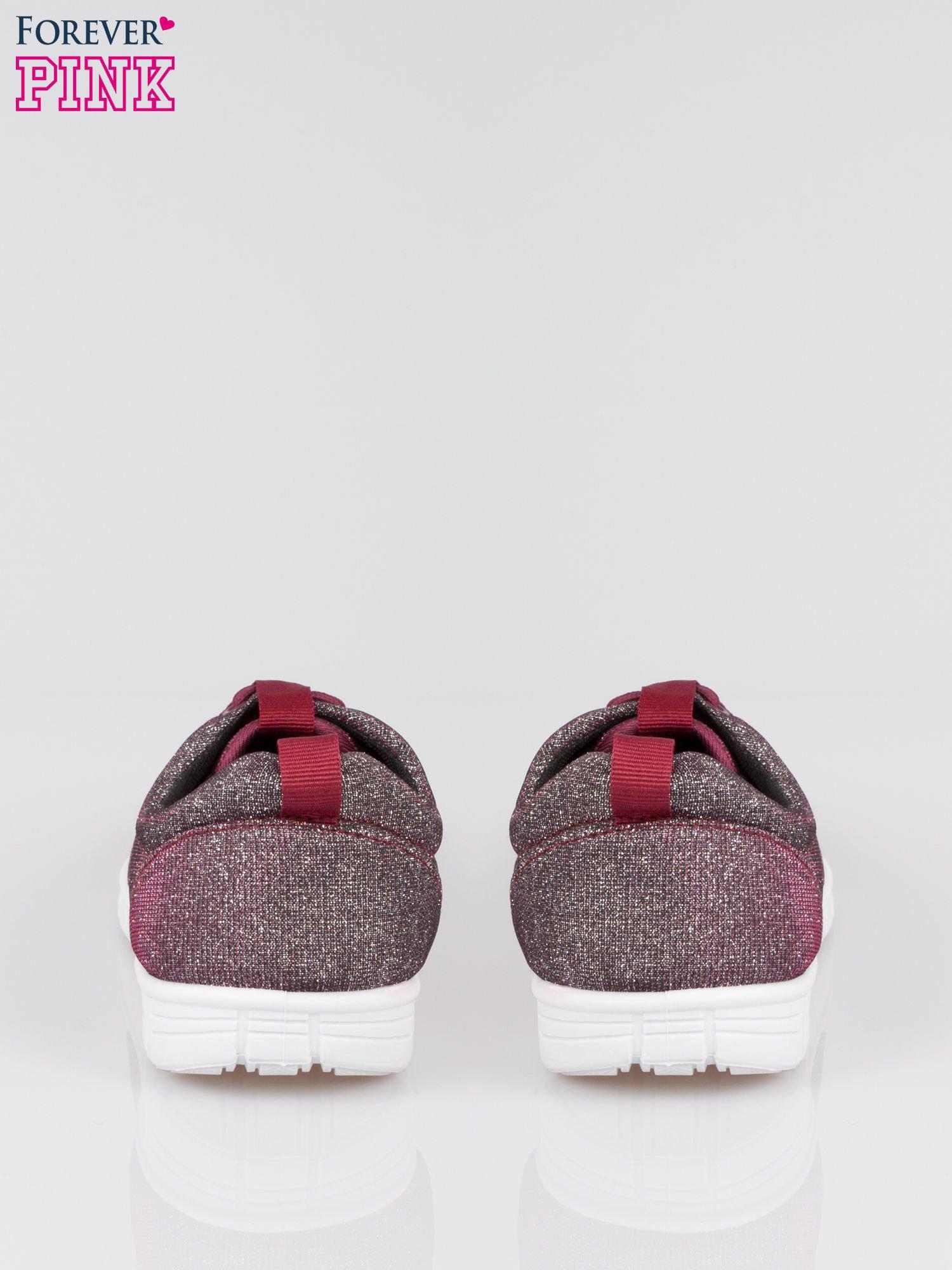 Burgundowe buty sportowe textile Diamonds z metaliczną nitką                                  zdj.                                  3