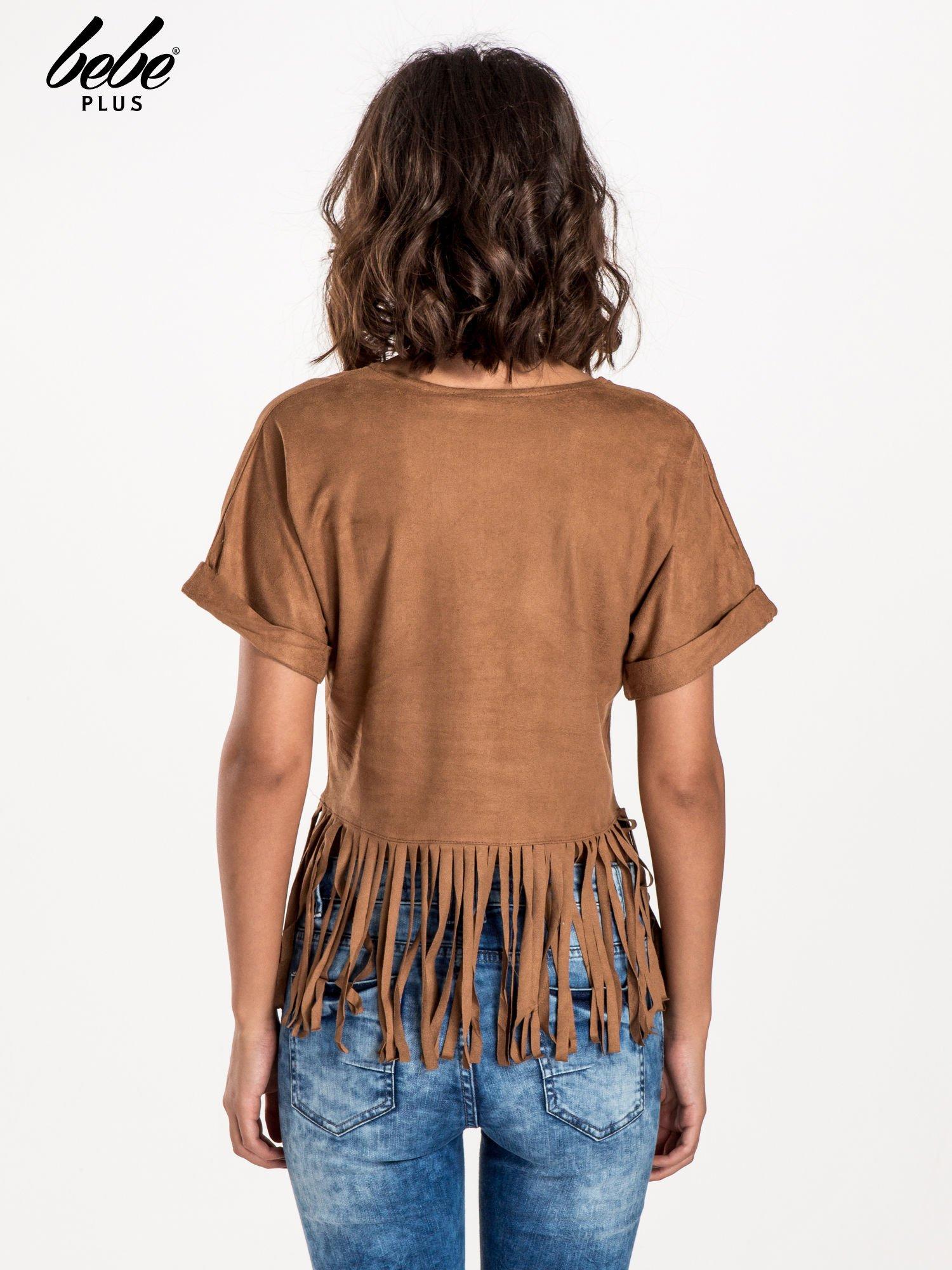 Camelowa zamszowa bluzka z frędzlami                                  zdj.                                  3
