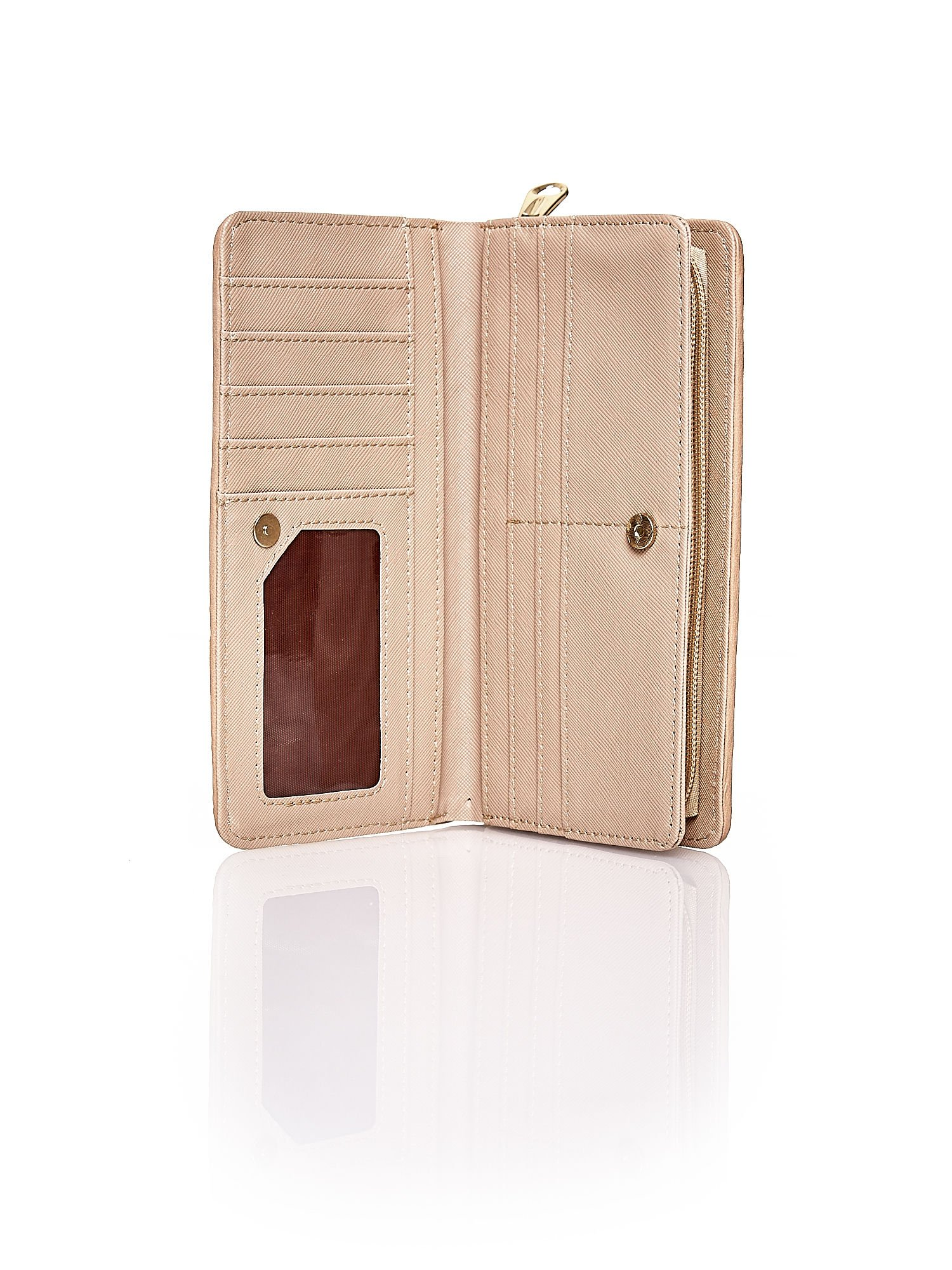 Ciemnobeżowy pleciony portfel w pionowe paski                                  zdj.                                  3