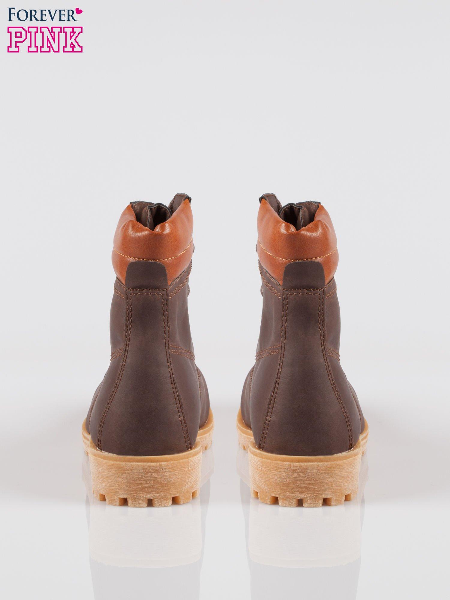 Ciemnobrązowe buty trekkingowe damskie typu traperki                                  zdj.                                  3