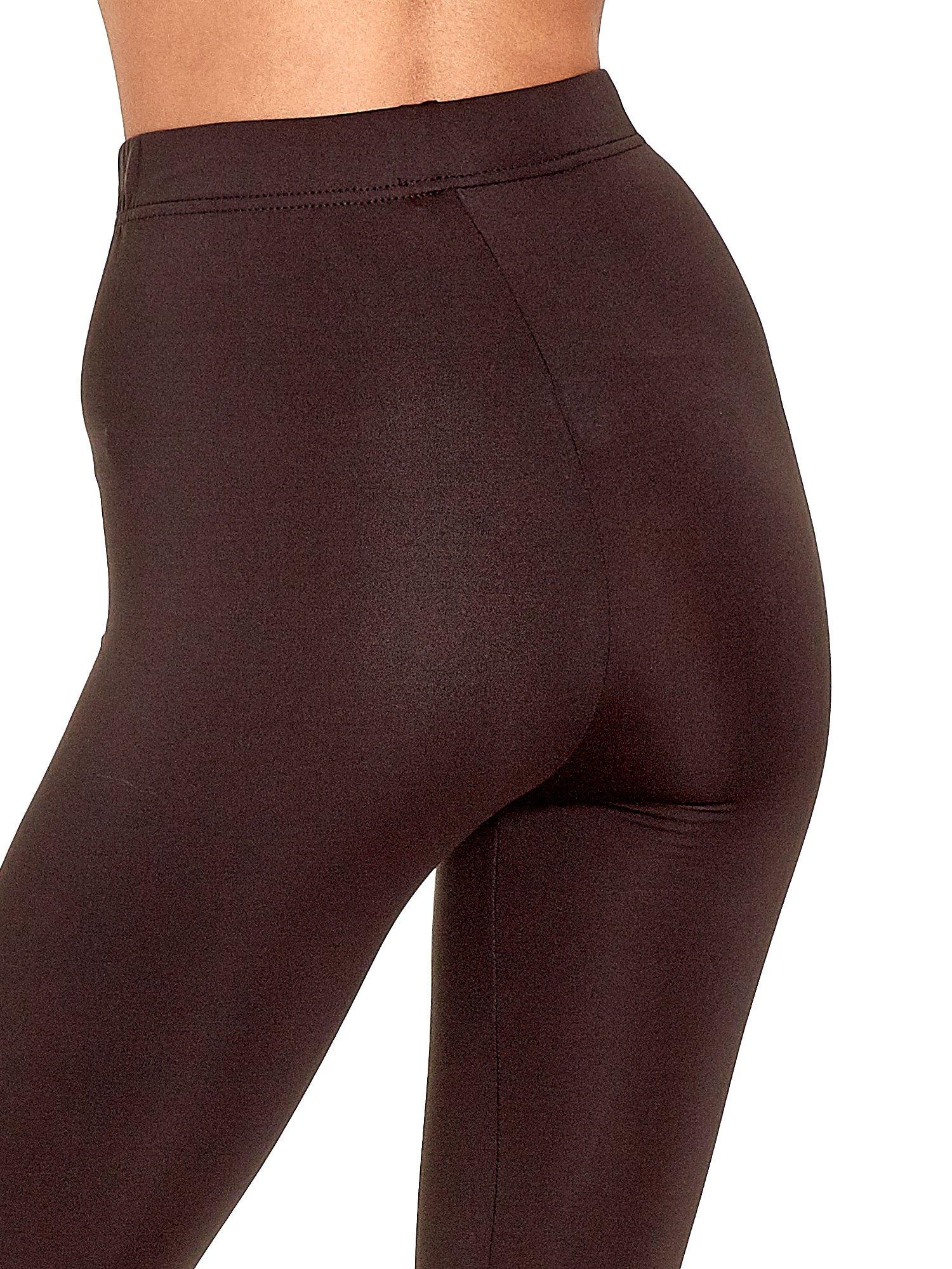 Ciemnobrązowe legginsy basic z lekkim ociepleniem                                  zdj.                                  7