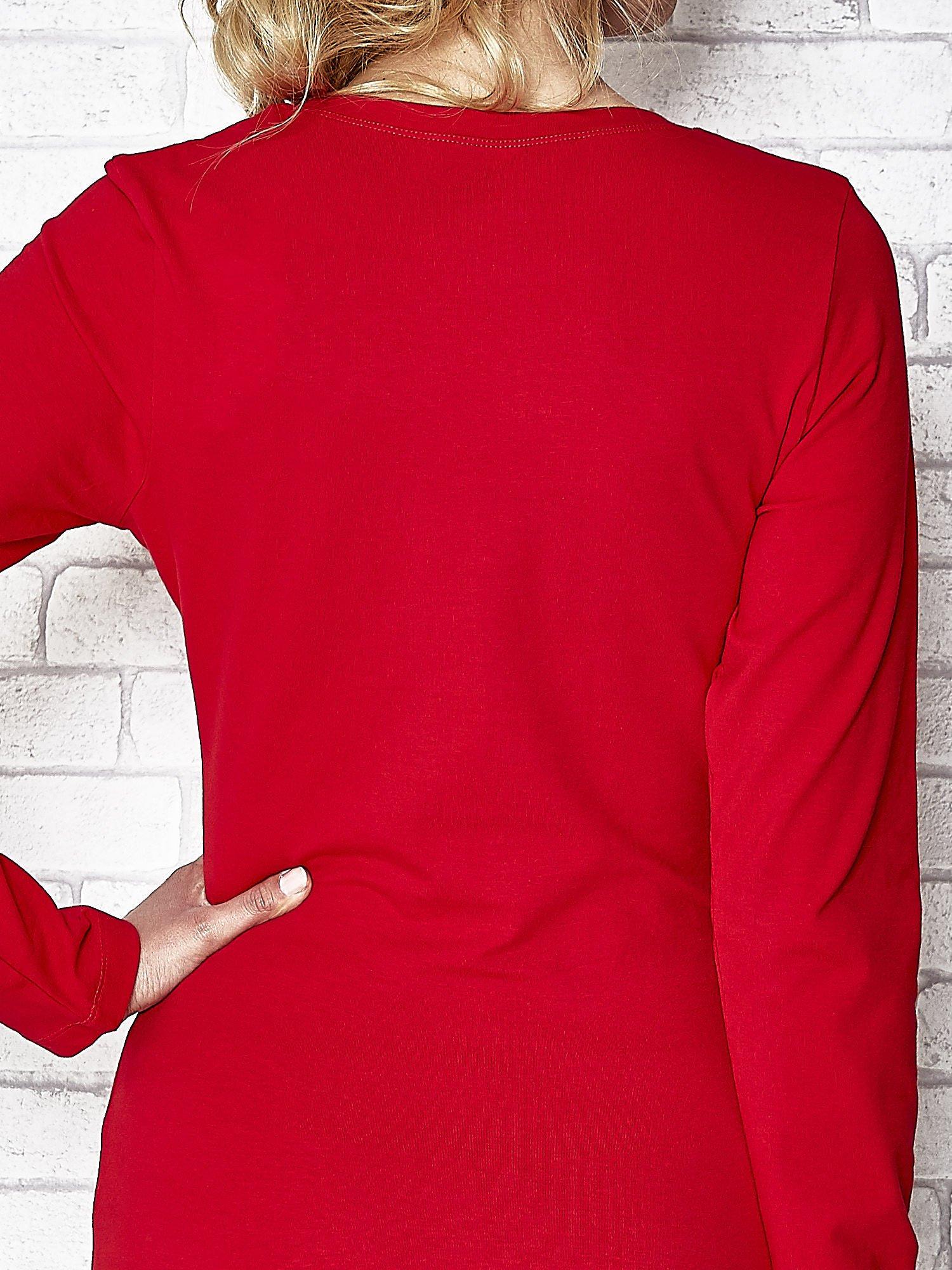 Ciemnoczerwona bluzka sportowa z dekoltem U                                  zdj.                                  7