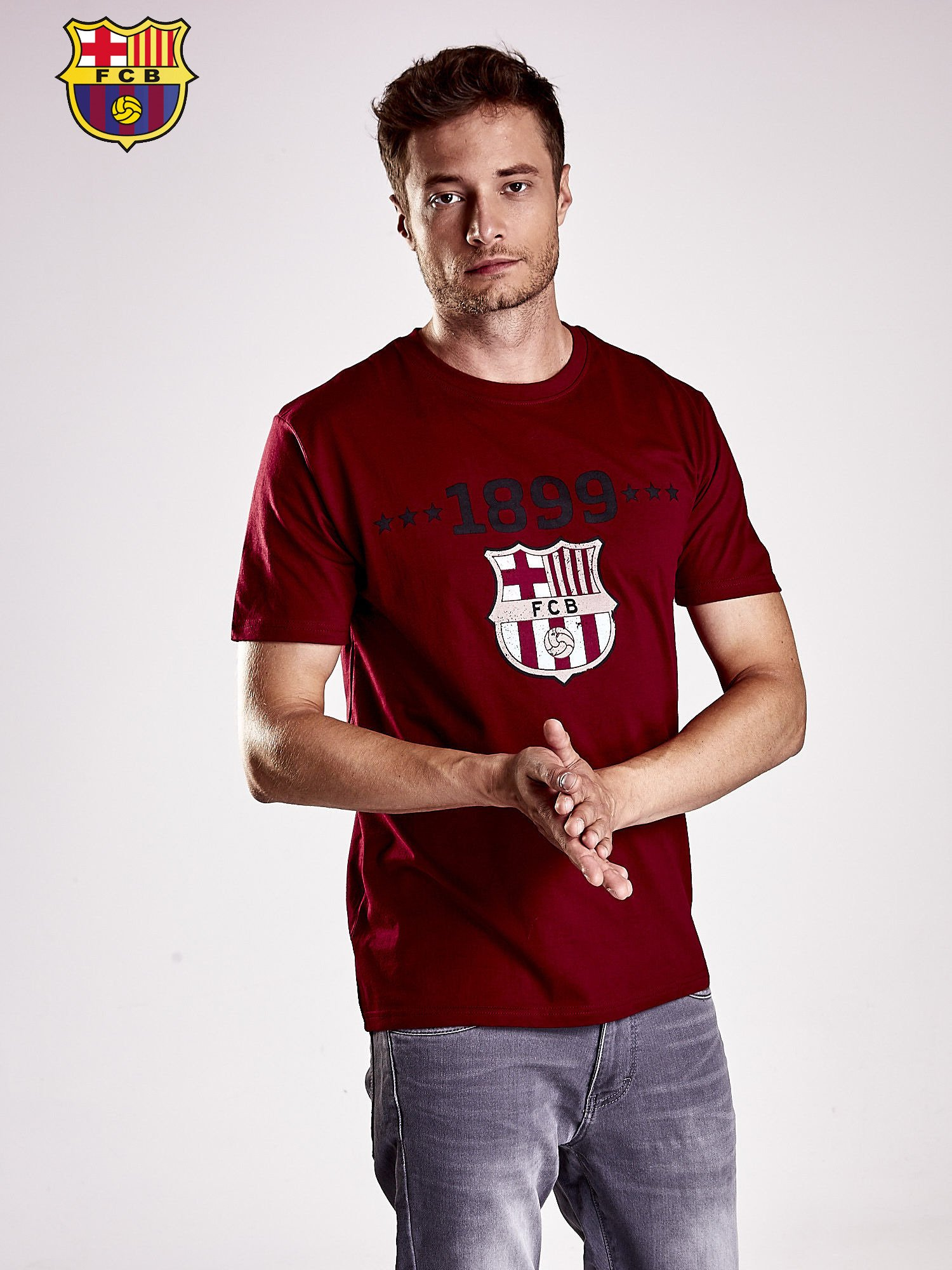 Ciemnoczerwony t-shirt męski FC BARCELONA                                   zdj.                                  2
