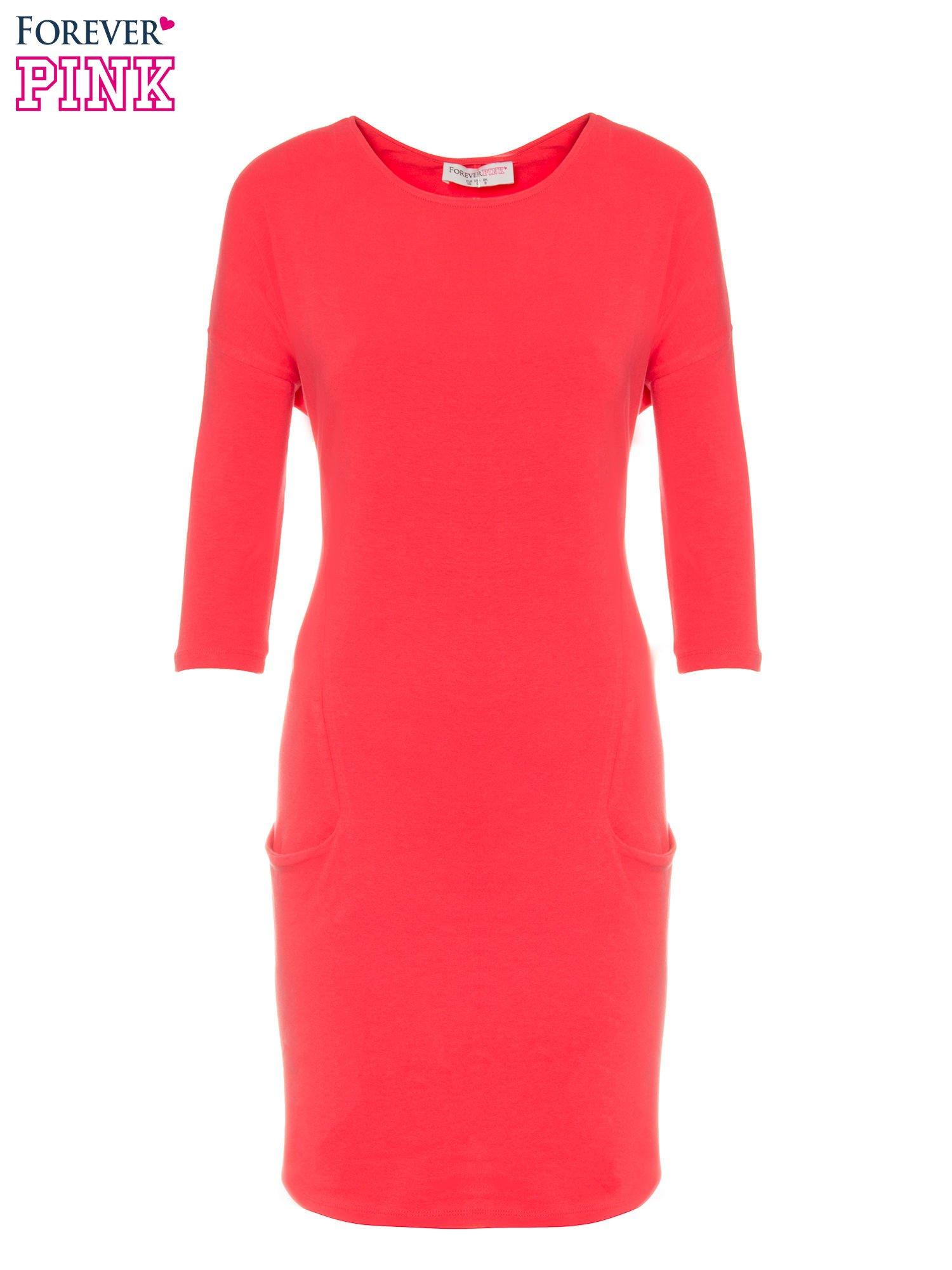 Ciemnokoralowa sukienka dresowa z kieszeniami                                  zdj.                                  5