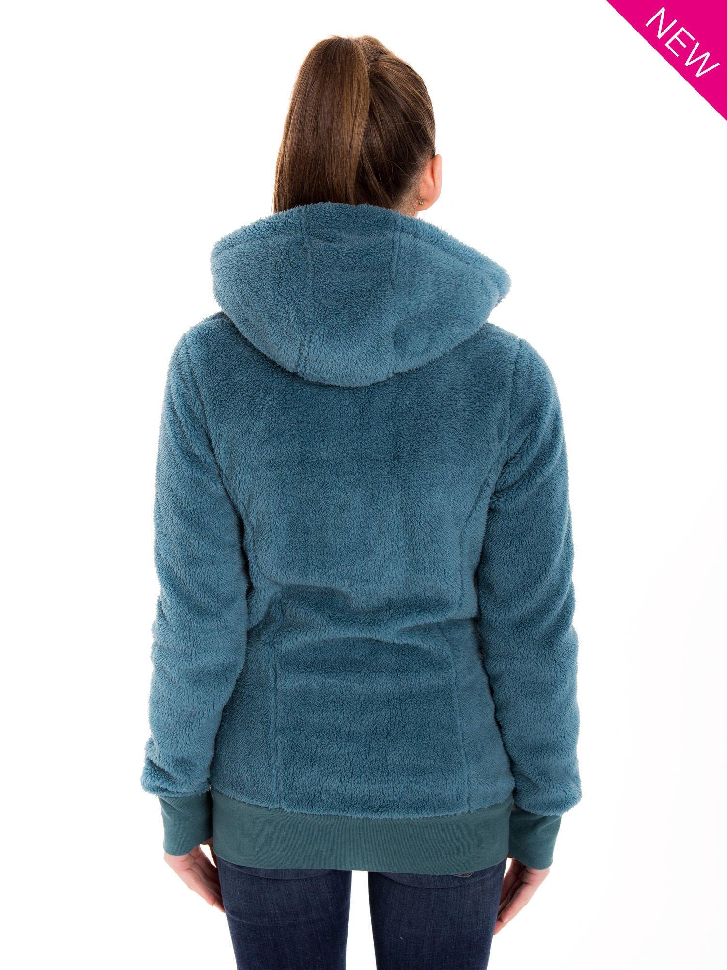 Ciemnoniebieska bluza futerkowa z kapturem i rękawami z otworem na kciuk                                  zdj.                                  2