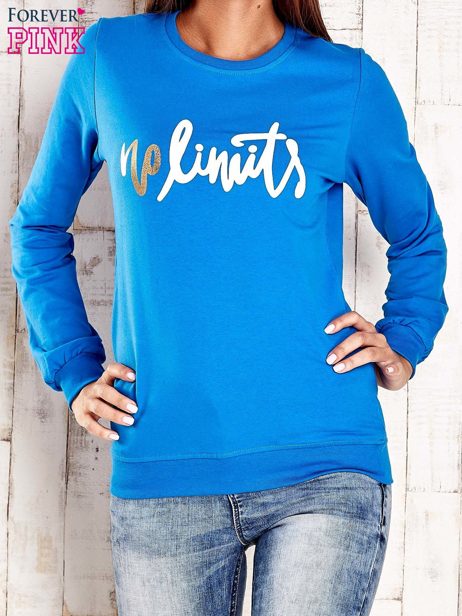 Ciemnoniebieska bluza z napisem NO LIMITS                                  zdj.                                  1